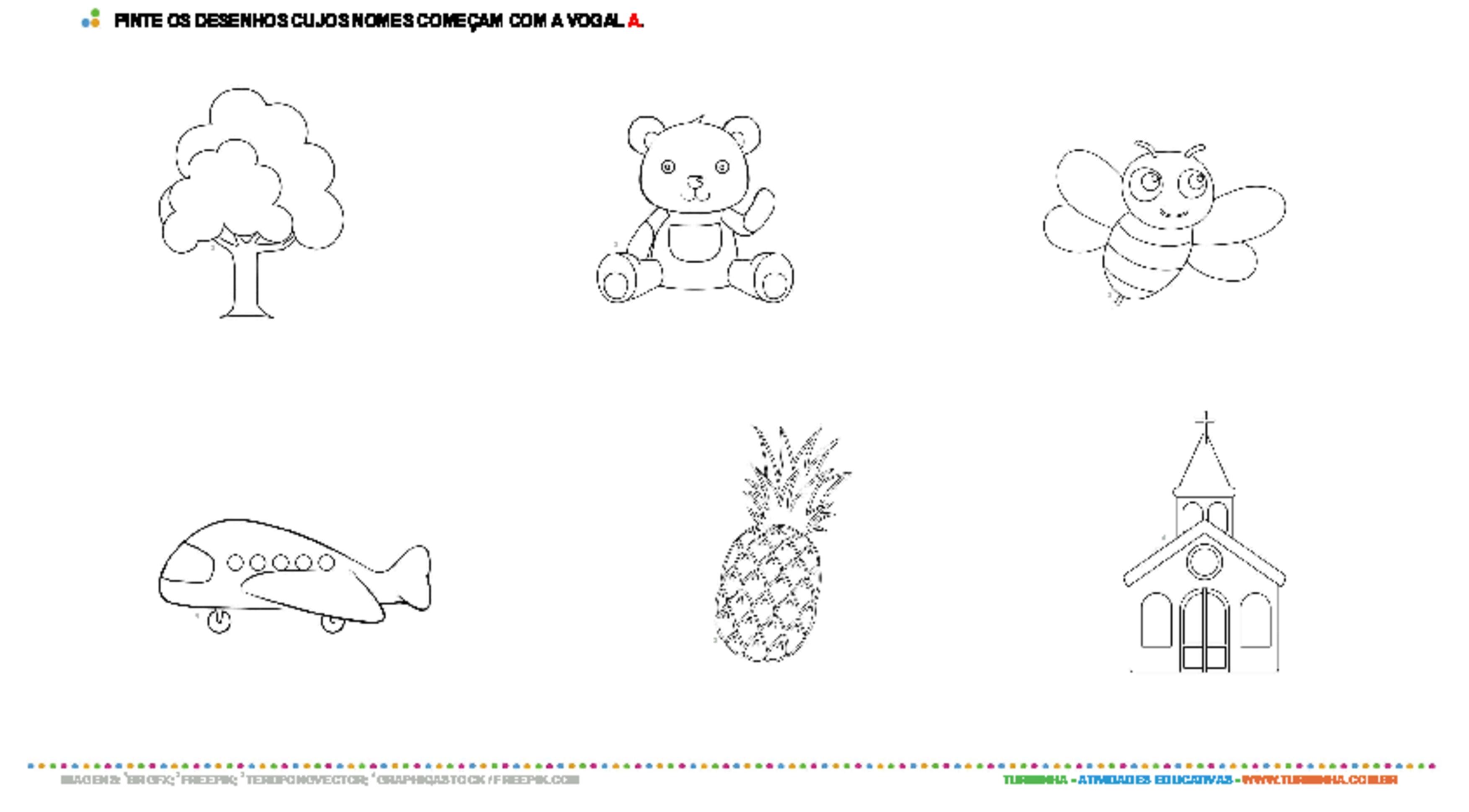 Colorindo desenhos com a vogal A - atividade educativa para Pré-Escola (4 e 5 anos)
