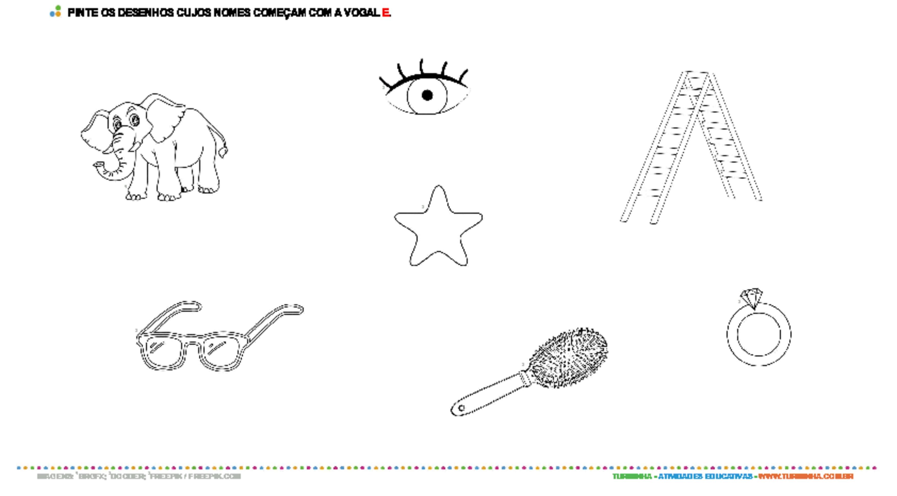 Colorindo desenhos com a vogal E - atividade educativa para Pré-Escola (4 e 5 anos)