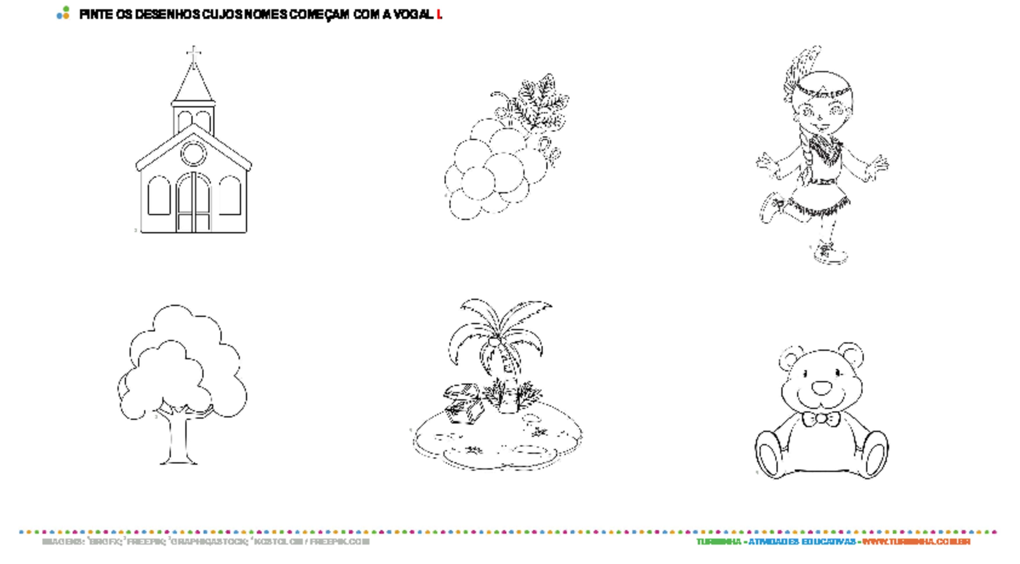 Colorindo desenhos com a vogal I - atividade educativa para Pré-Escola (4 e 5 anos)