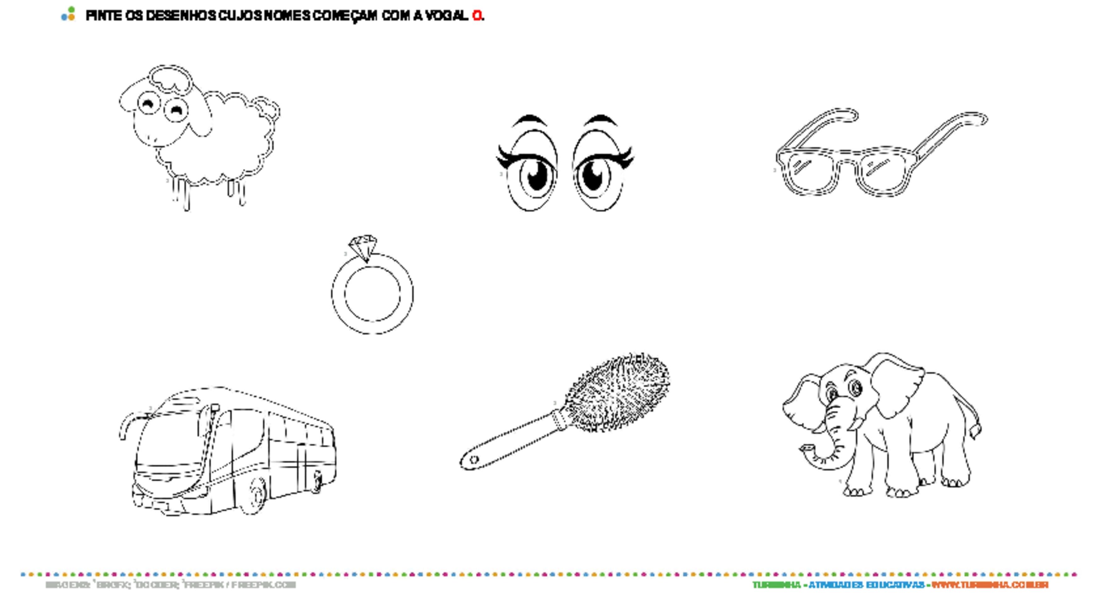 Colorindo desenhos com a vogal O - atividade educativa para Pré-Escola (4 e 5 anos)