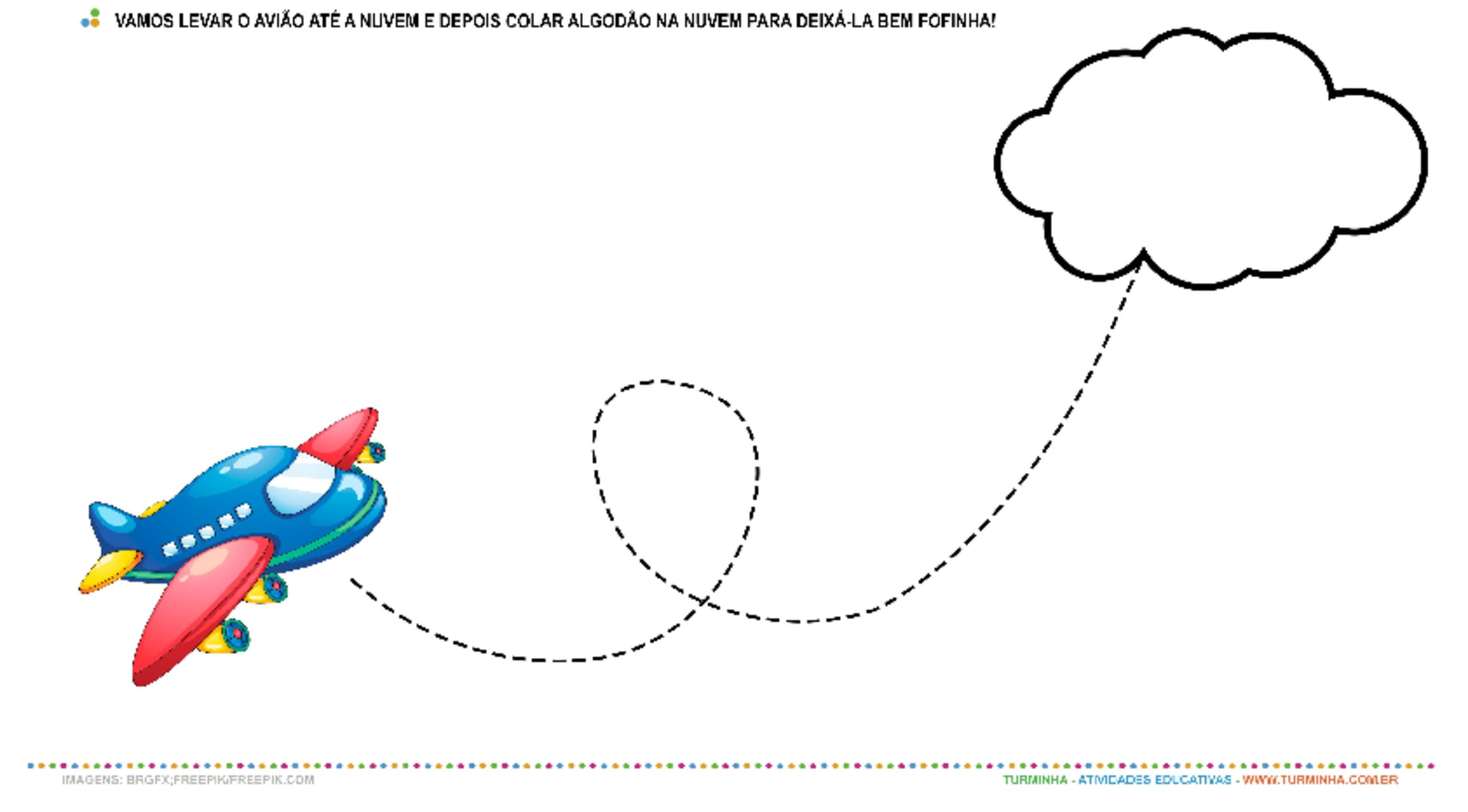 O Avião e a Nuvem - Meios de Transportes - Colagem - atividade educativa para Creche (0 a 3 anos)