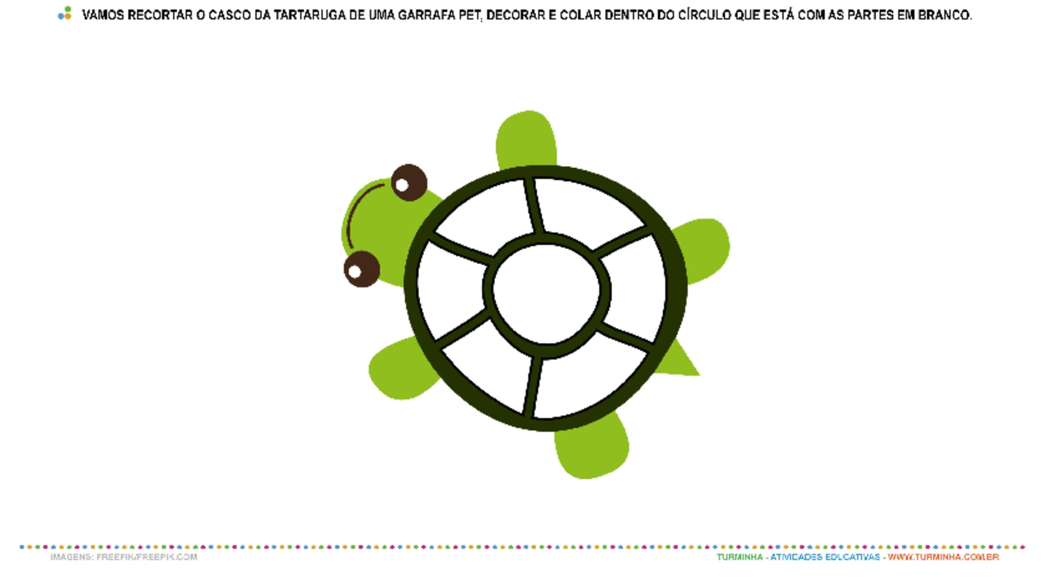 Criando minha tartaruga - Colagem - atividade educativa para Creche (0 a 3 anos)