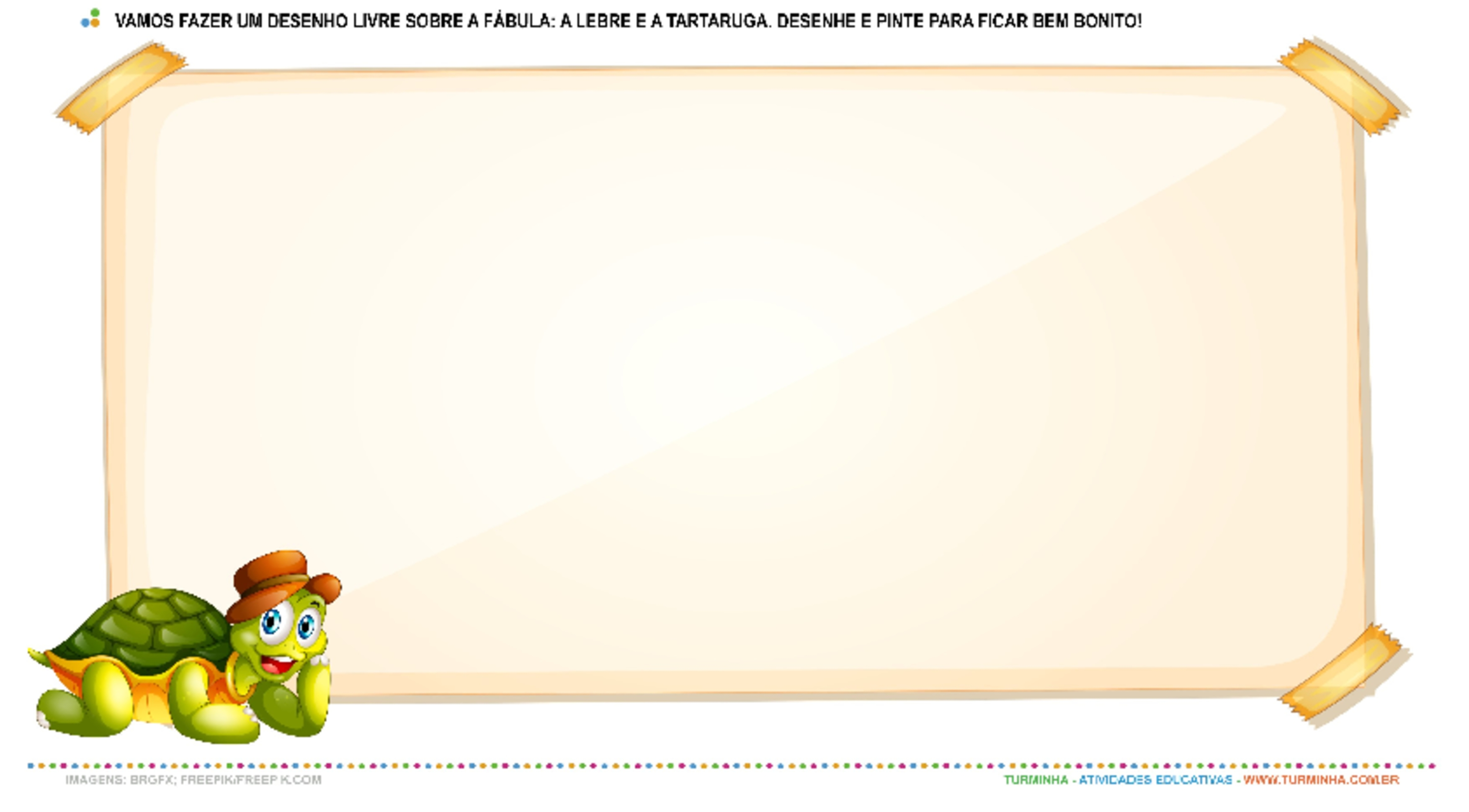 Fábula - A Lebre e a Tartaruga - Desenho Livre - atividade educativa para Pré-Escola (4 e 5 anos)