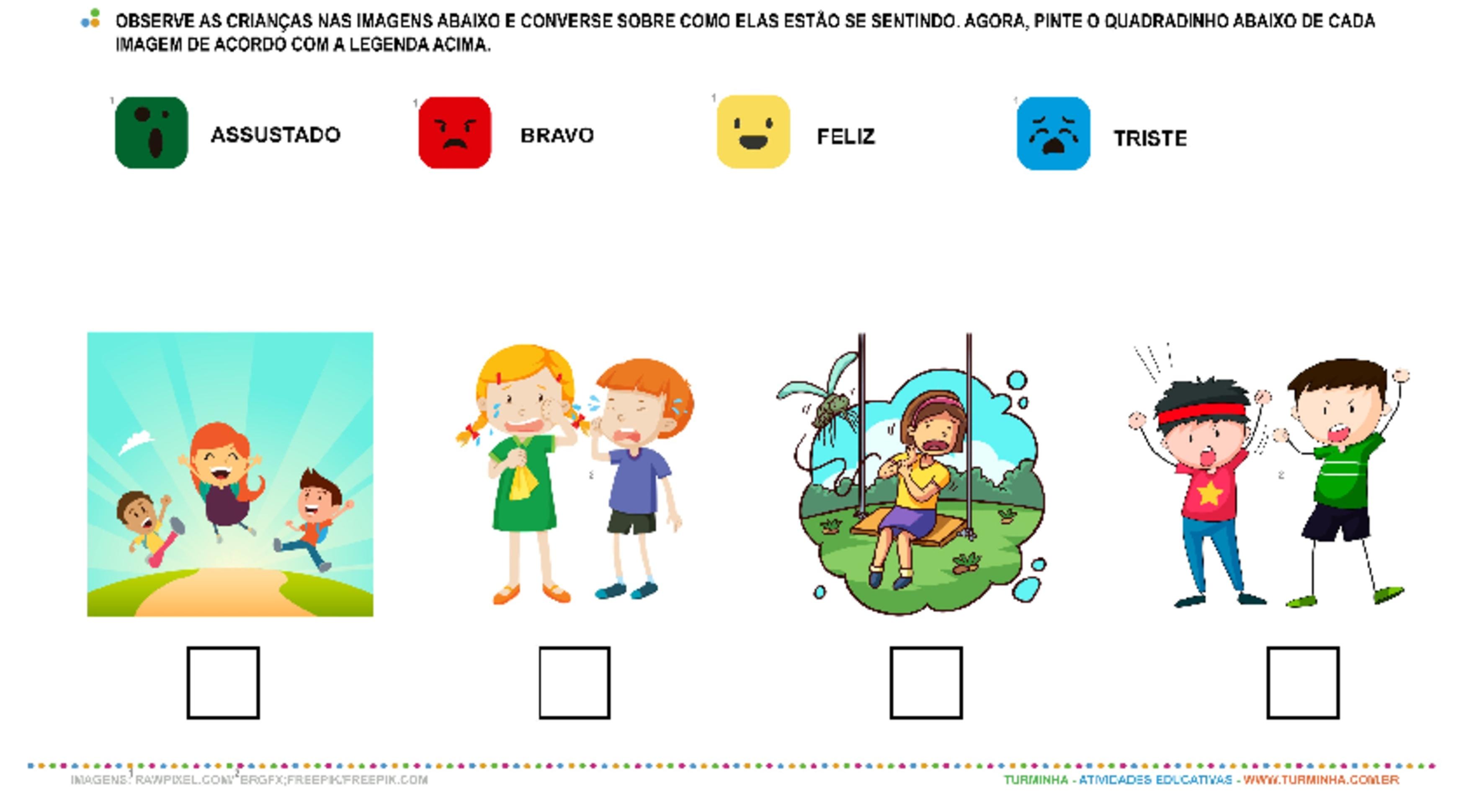 Sentimentos e Cores - atividade educativa para Pré-Escola (4 e 5 anos)