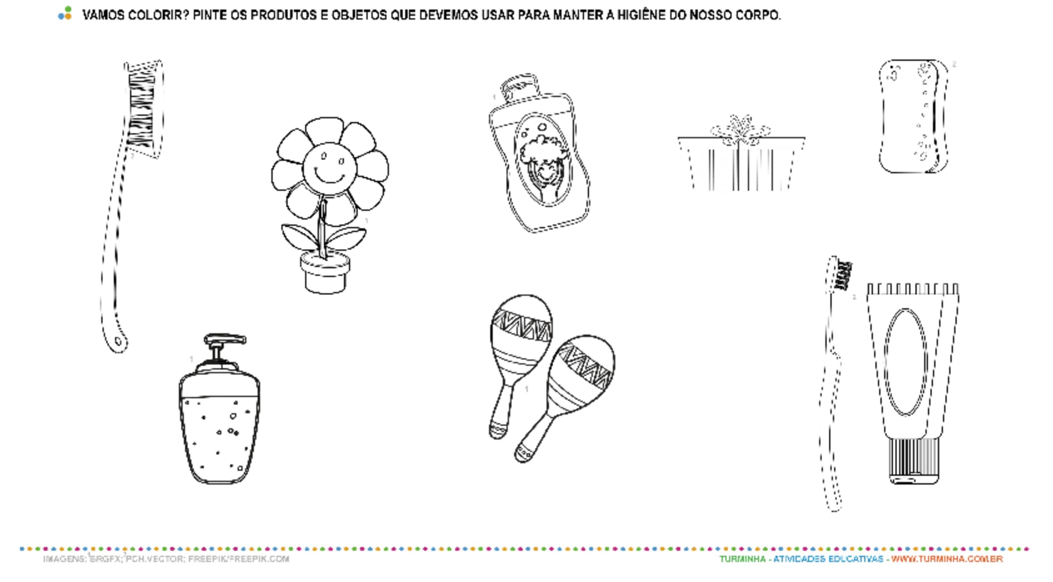 Higiene e Saúde - Pintura - atividade educativa para Pré-Escola (4 e 5 anos)