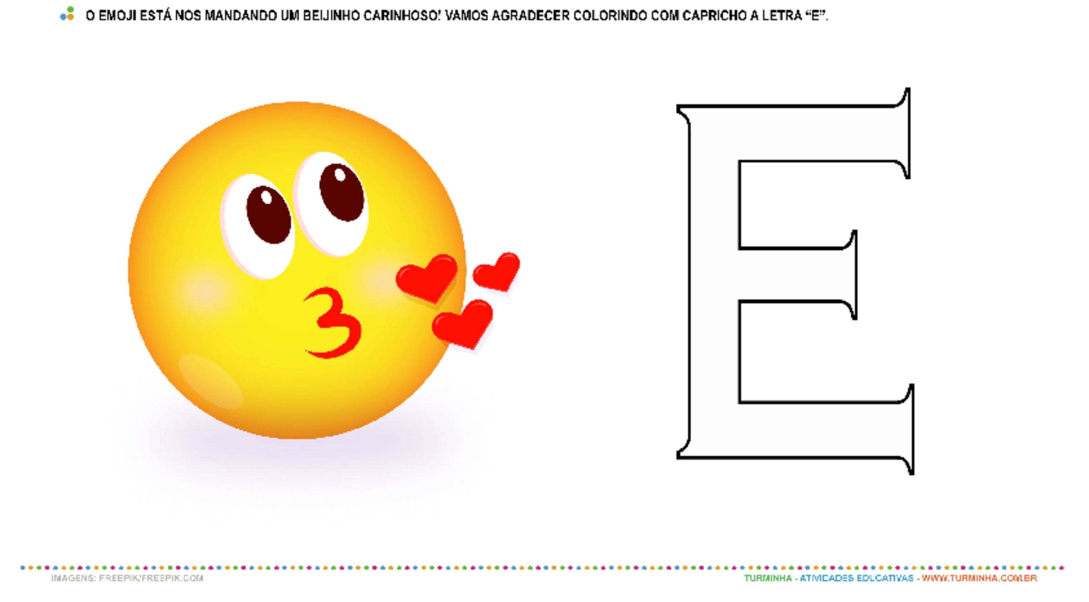 Emoji e a vogal E - atividade educativa para Creche (0 a 3 anos)