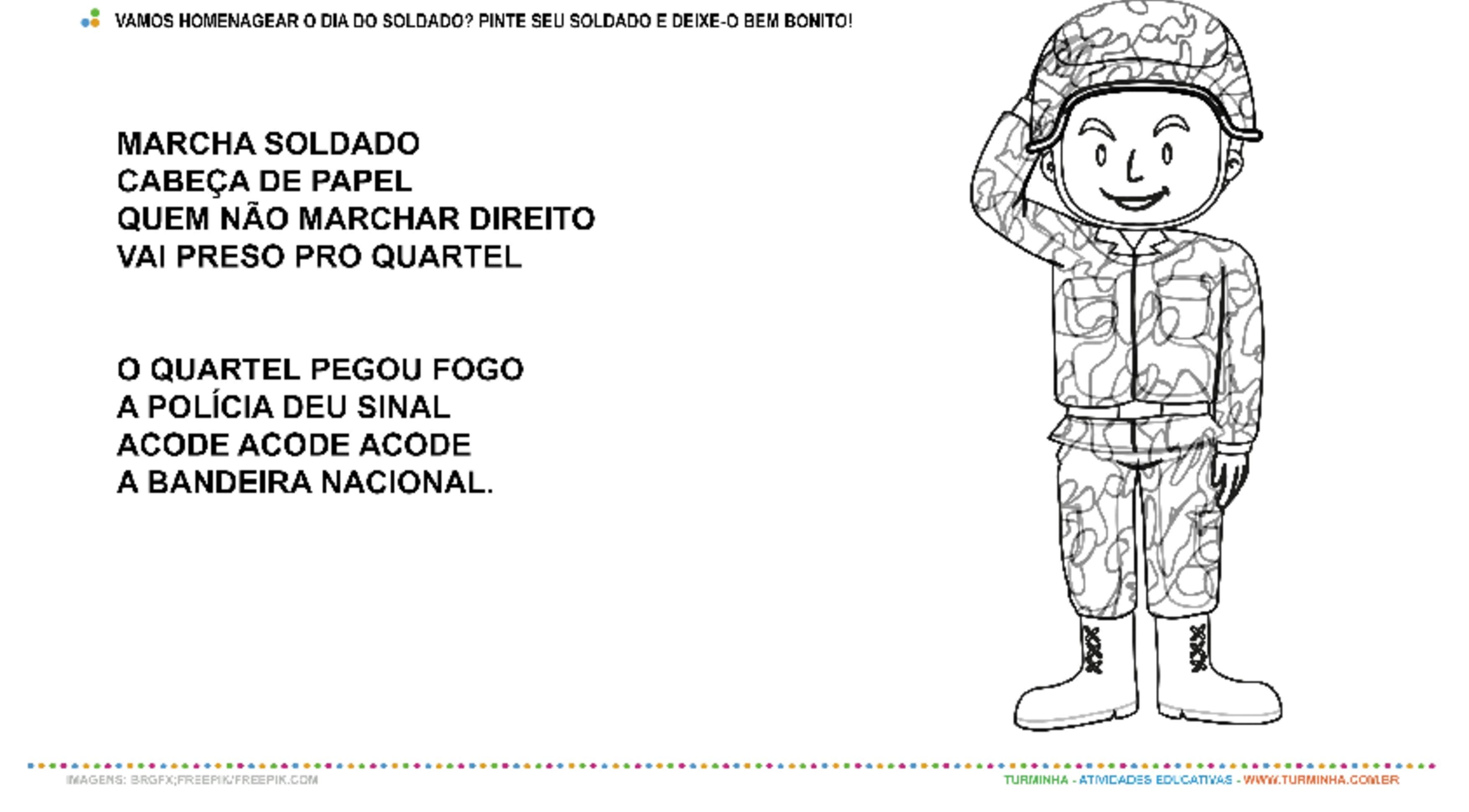 Dia do Soldado - Pintura e Música - atividade educativa para Pré-Escola (4 e 5 anos)