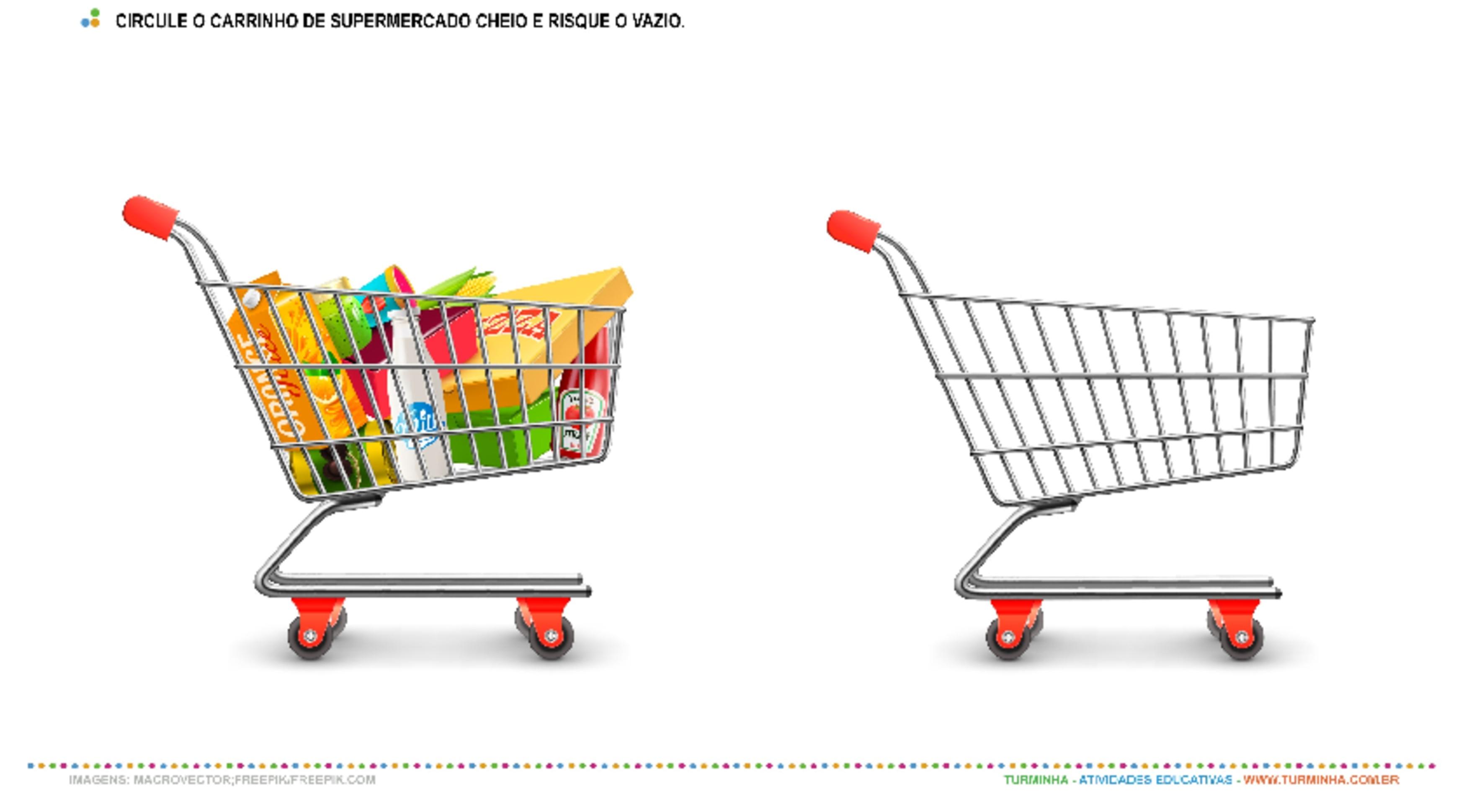 Compras no Supermercado – Cheio ou Vazio - atividade educativa para Creche (0 a 3 anos)