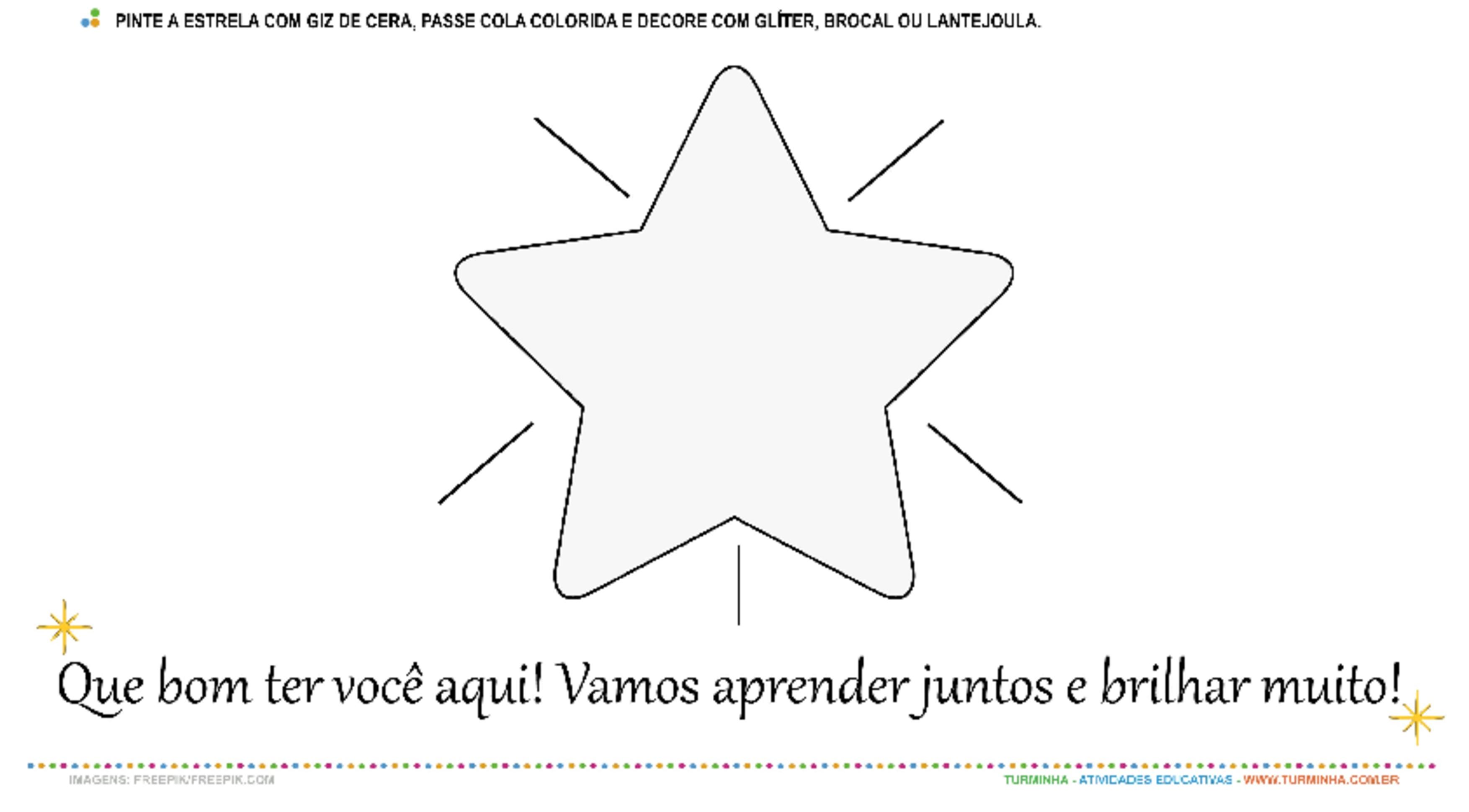 Volta às Aulas - Estrela Brilhante - atividade educativa para Pré-Escola (4 e 5 anos)