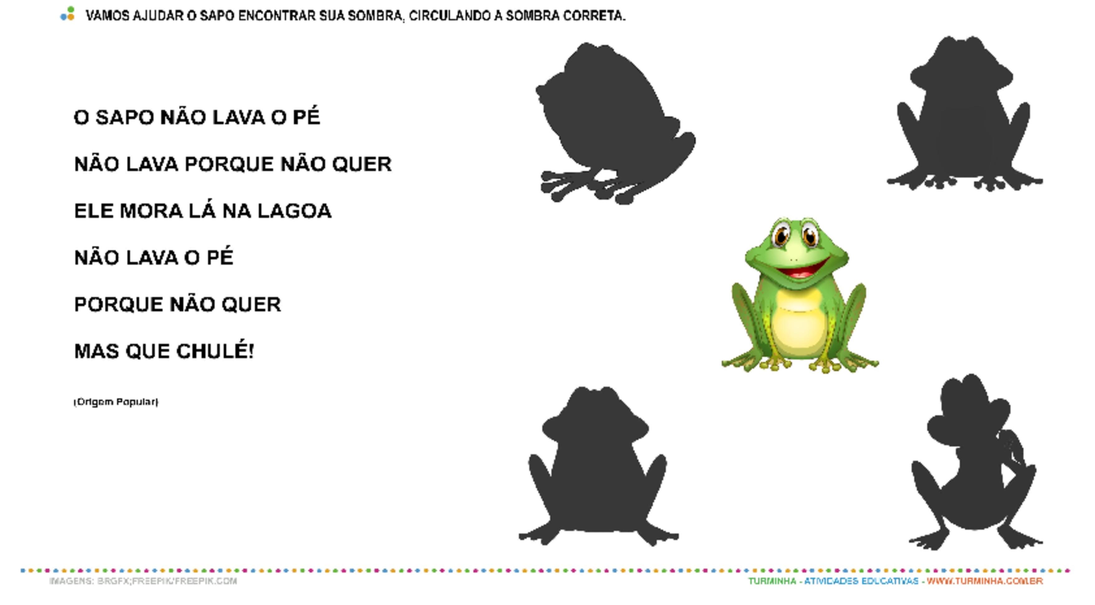 O Sapo não lava o Pé - Jogo das Sombras - atividade educativa para Creche (0 a 3 anos)