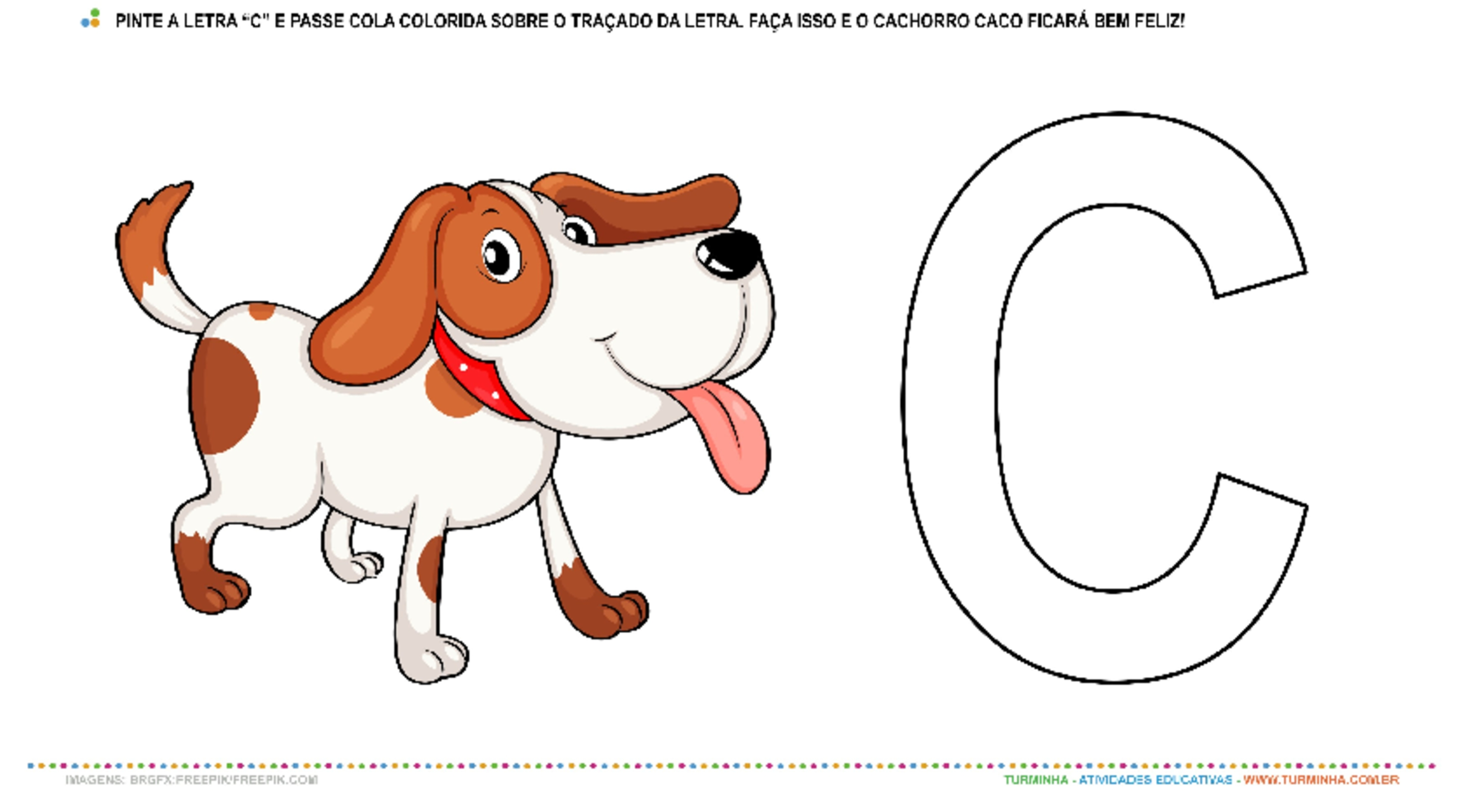 "O Cachorro Caco e a letra ""C"" – Pintura e Colagem - atividade educativa para Creche (0 a 3 anos)"