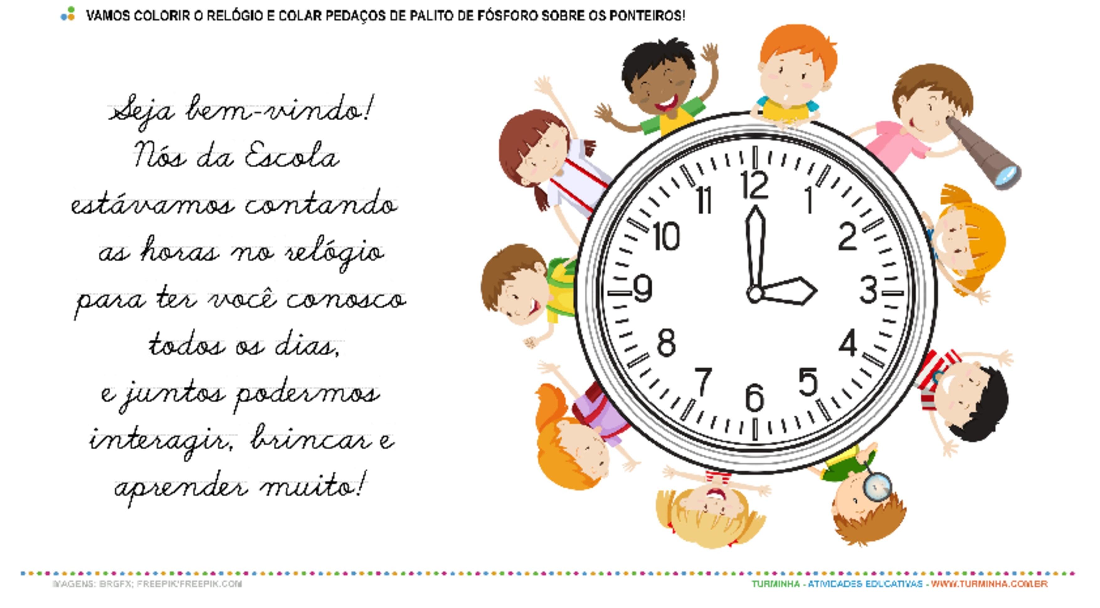 Contando as horas para a Volta às Aulas - Pintura e Colagem - atividade educativa para Pré-Escola (4 e 5 anos)