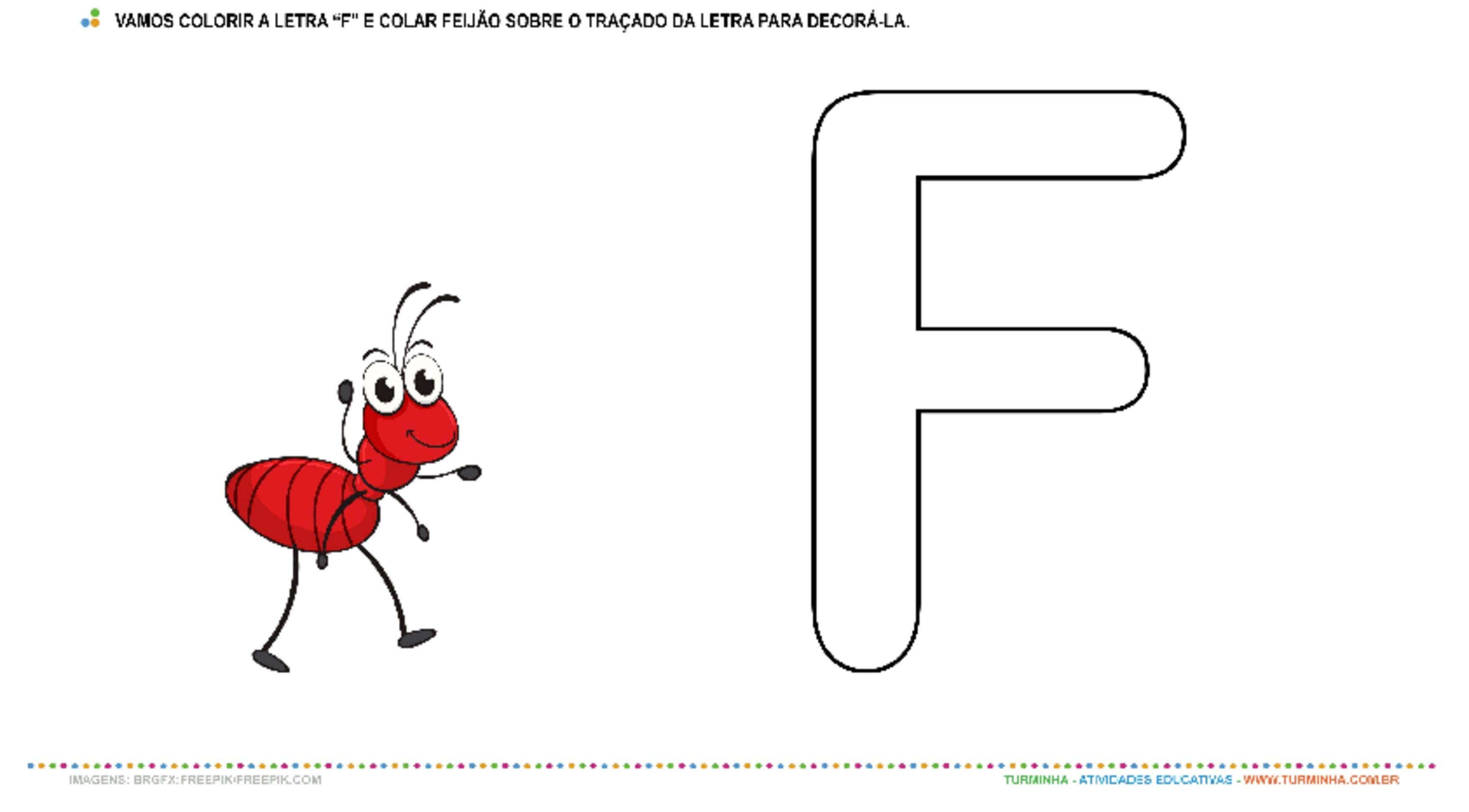 "A Formiga e a Letra ""F"" – Pintura e Colagem  - atividade educativa para Creche (0 a 3 anos)"