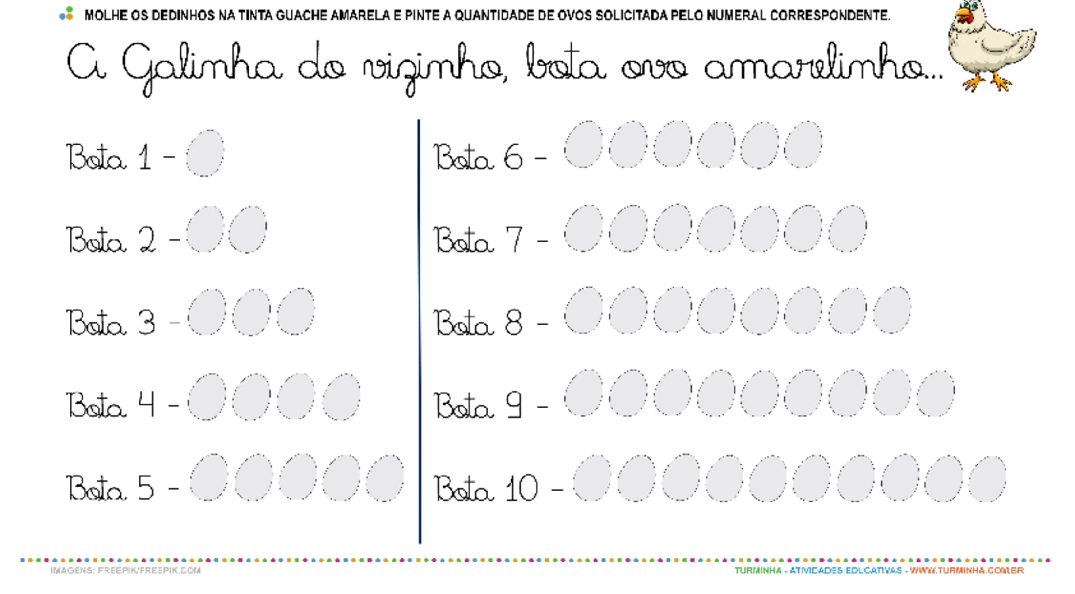 A Galinha do Vizinho - Cantando e Contando - atividade educativa para Pré-Escola (4 e 5 anos)
