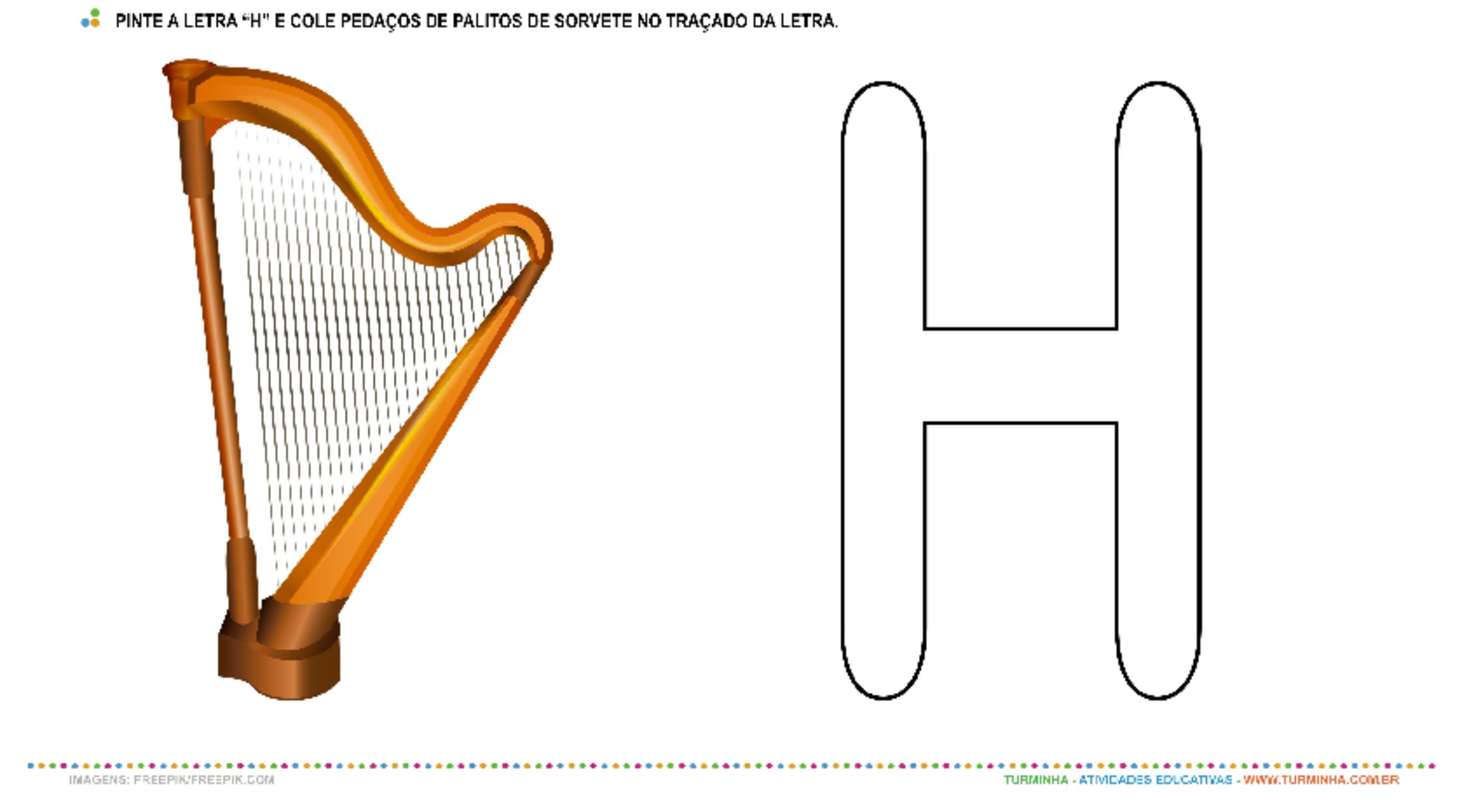 """Harpa e a Letra """"H"""" – Pintura e Colagem - atividade educativa para Creche (0 a 3 anos)"""