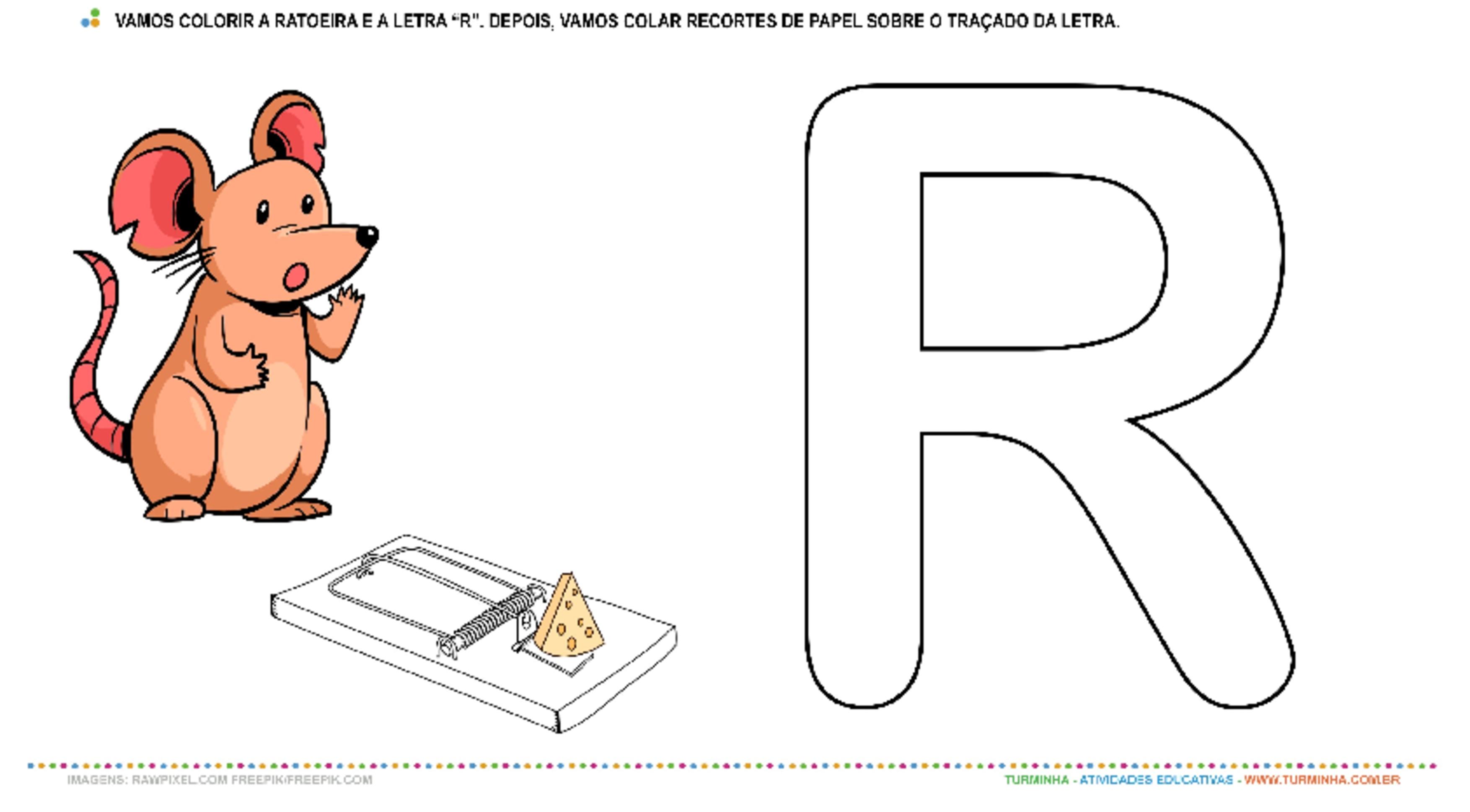 """A Ratoeira, o Rato e a Letra """"R""""– Pintura e Colagem  - atividade educativa para Creche (0 a 3 anos)"""