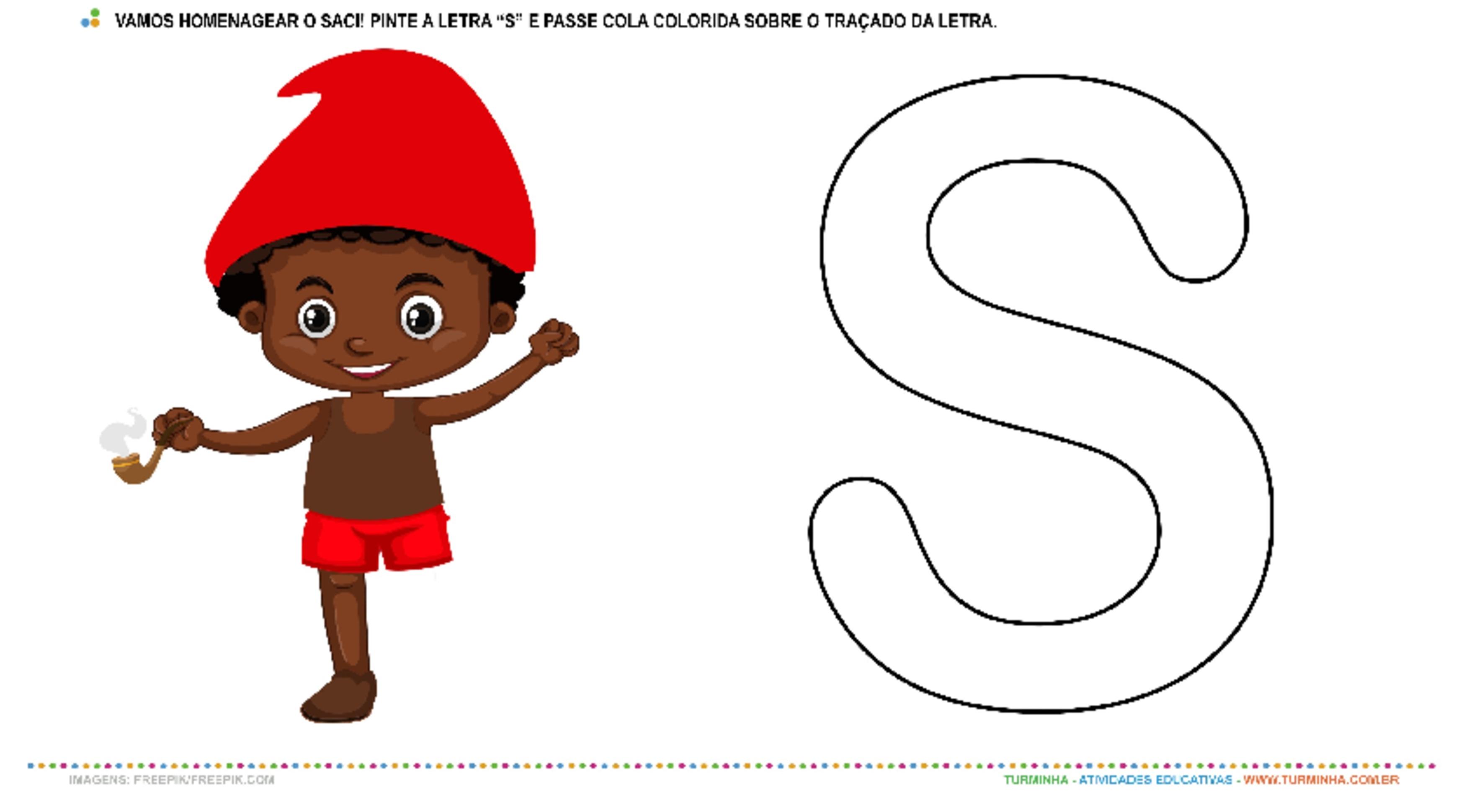 """O Saci e a letra """"S"""" – Pintura e Colagem - atividade educativa para Creche (0 a 3 anos)"""
