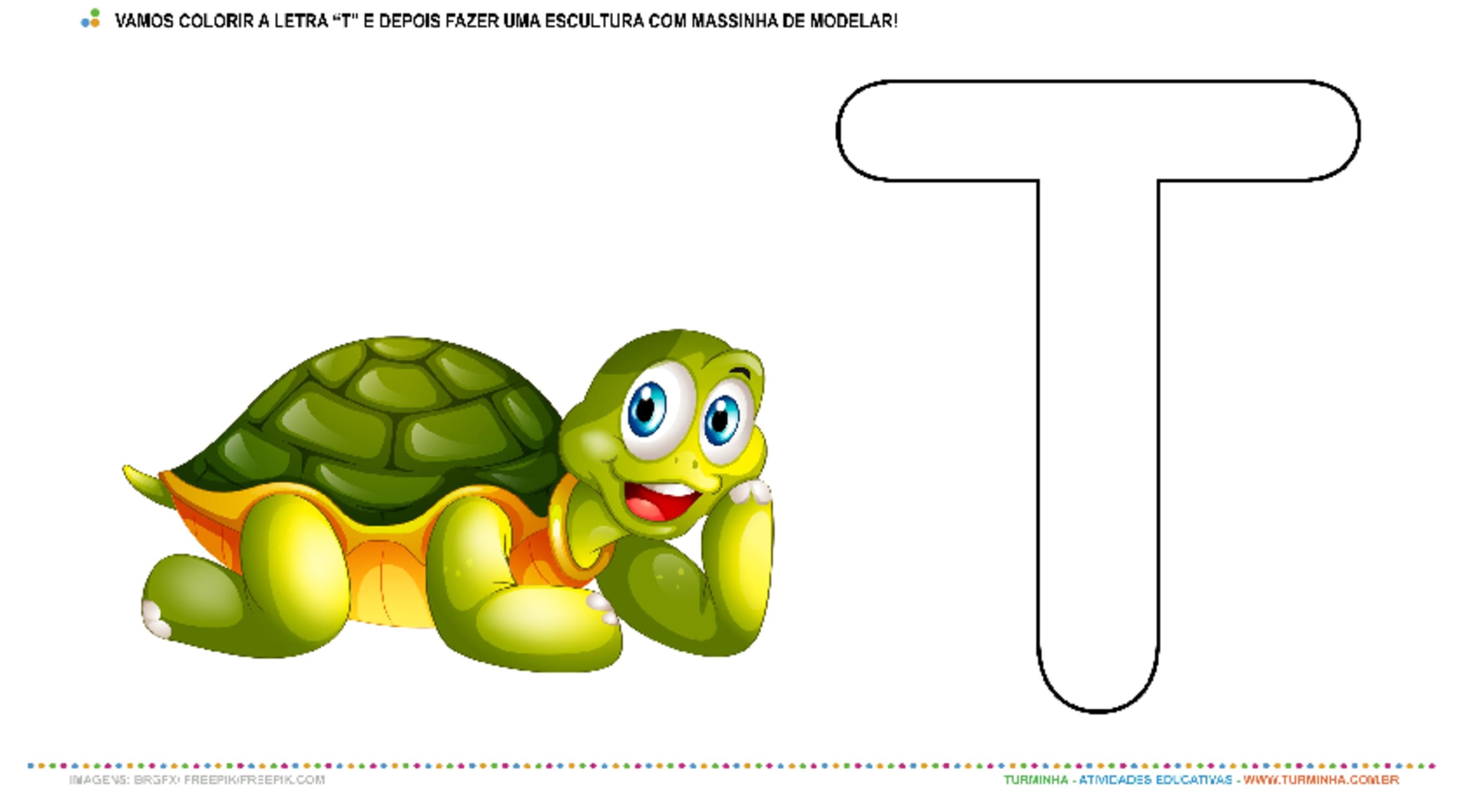 """A Tartaruga e a Letra """"T"""" – Pintura e Escultura - atividade educativa para Creche (0 a 3 anos)"""