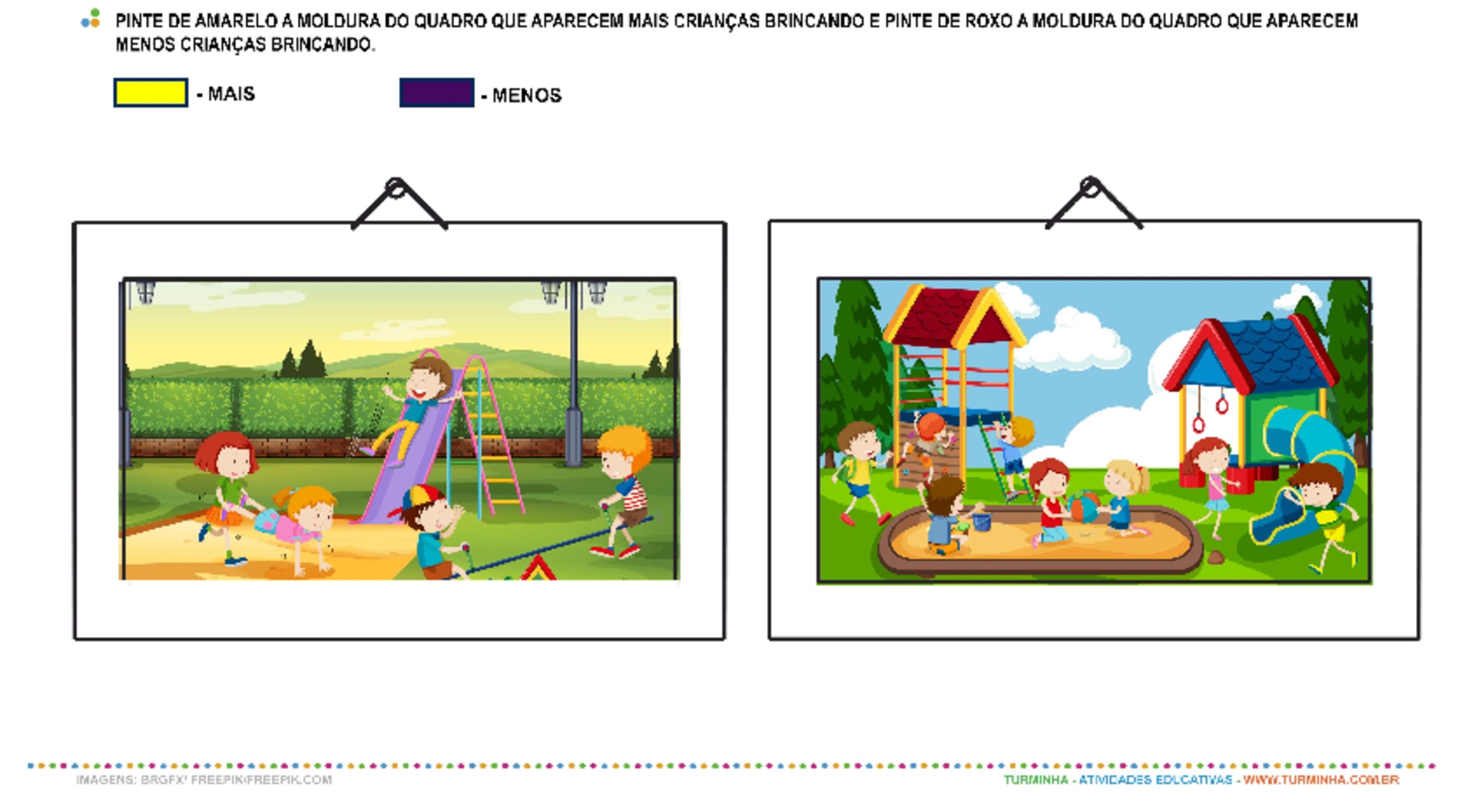 Crianças Brincando - Mais e Menos - atividade educativa para Pré-Escola (4 e 5 anos)