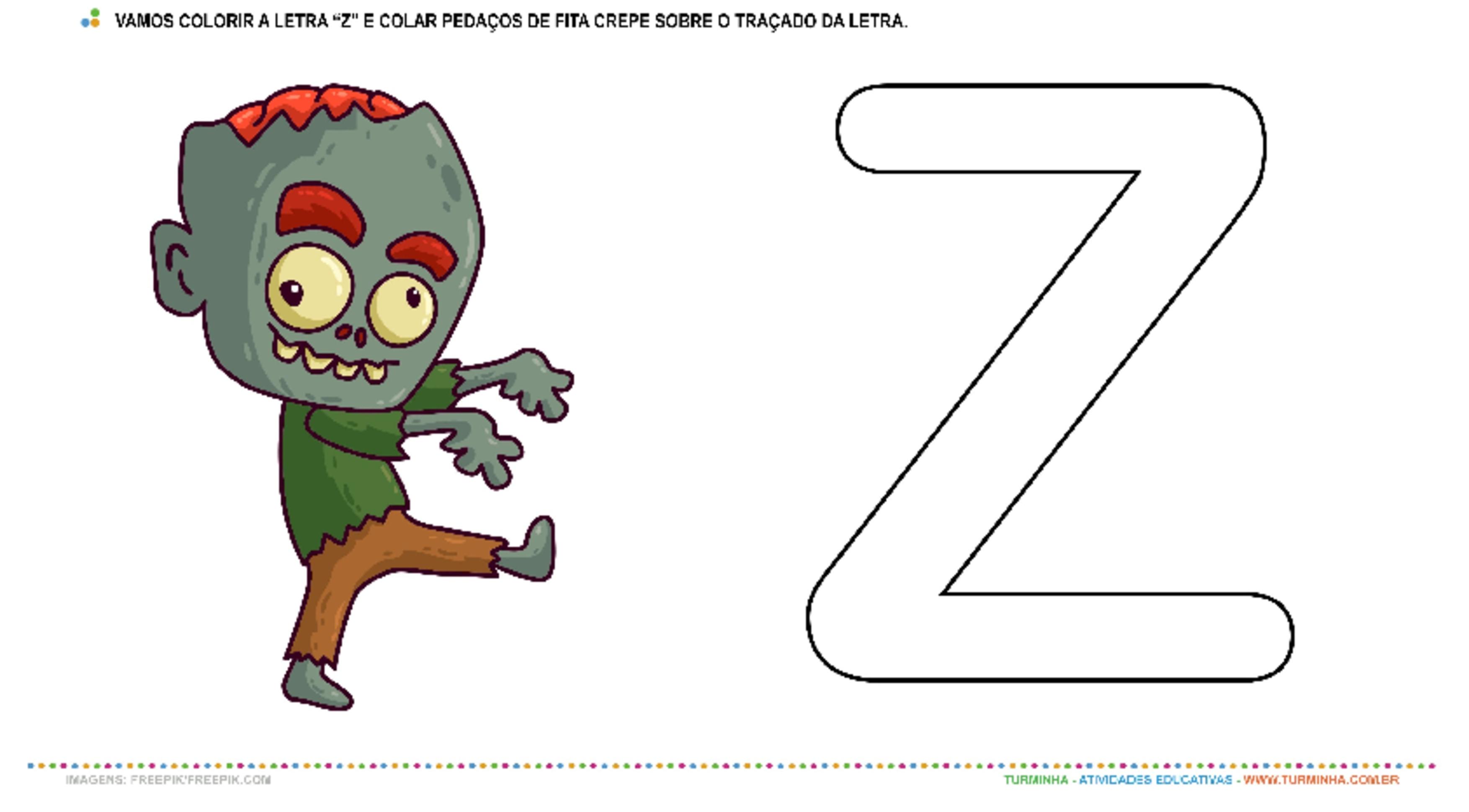 """O Zumbi e a Letra """"Z"""" – Pintura e Colagem  - atividade educativa para Creche (0 a 3 anos)"""