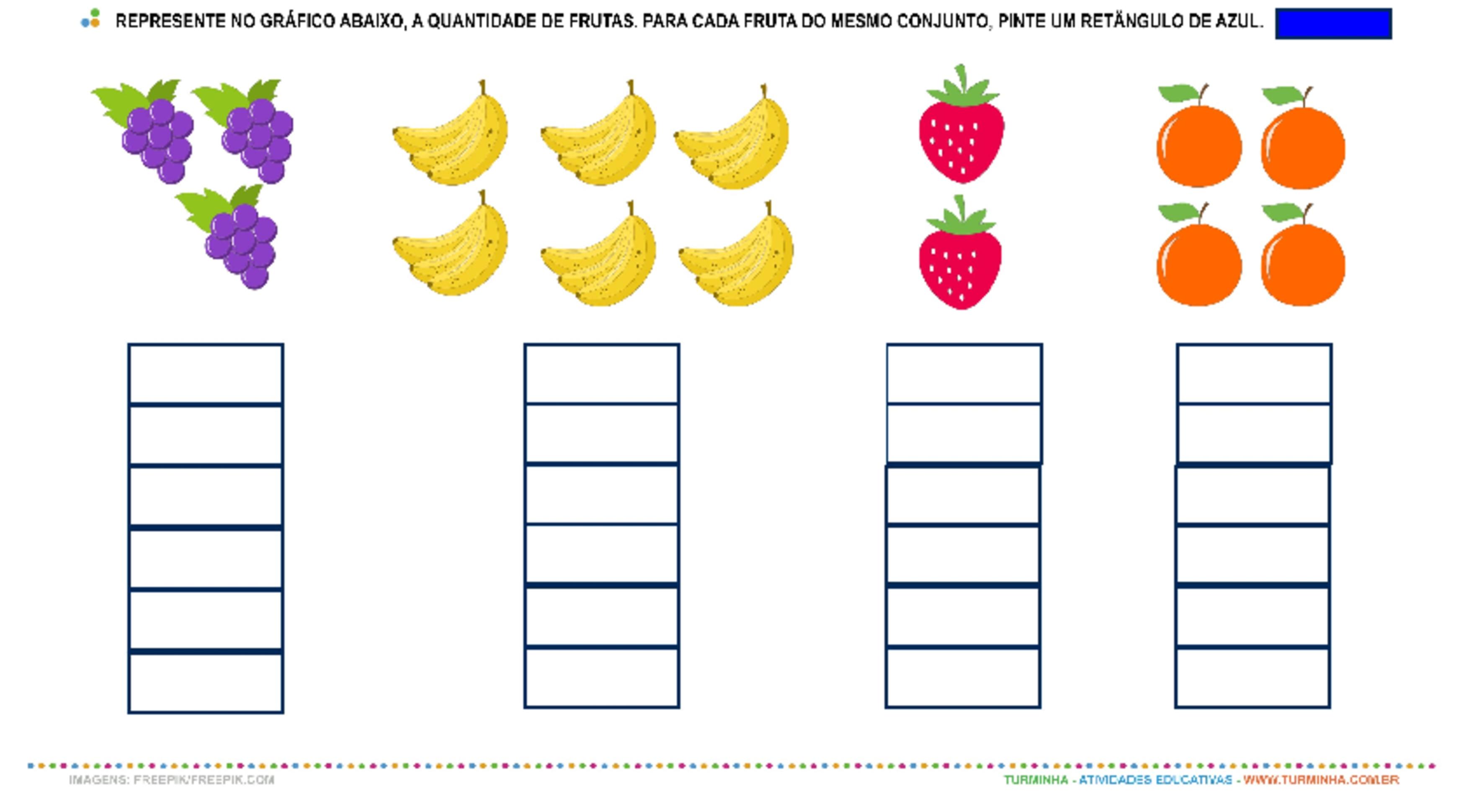 Salada de Fruta – Números e Quantidade - atividade educativa para Pré-Escola (4 e 5 anos)