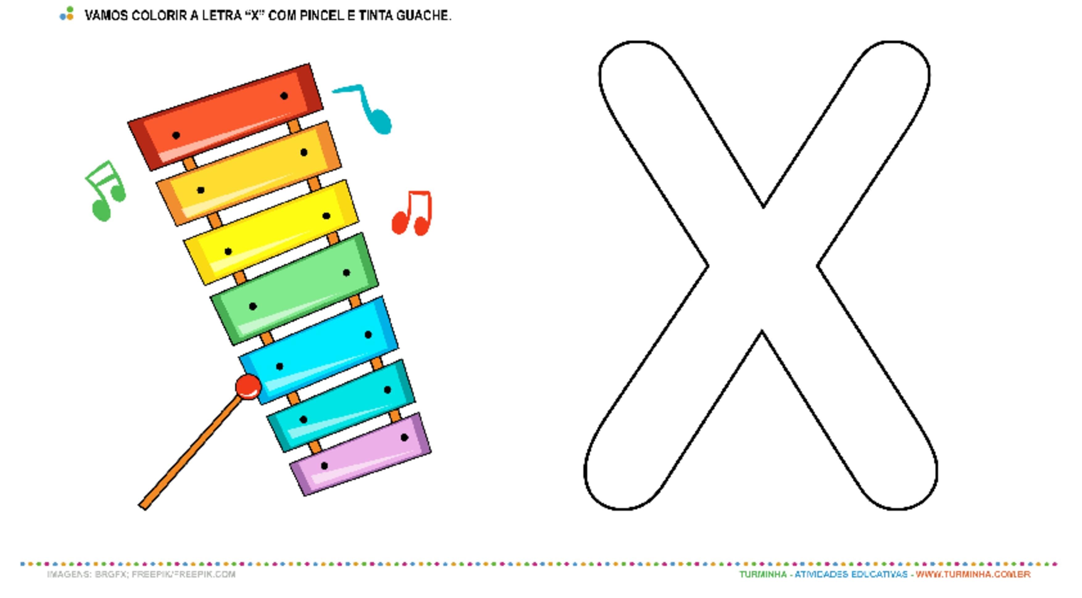 """O Xilofone e a letra """"X"""" – Pintura com guache - atividade educativa para Creche (0 a 3 anos)"""