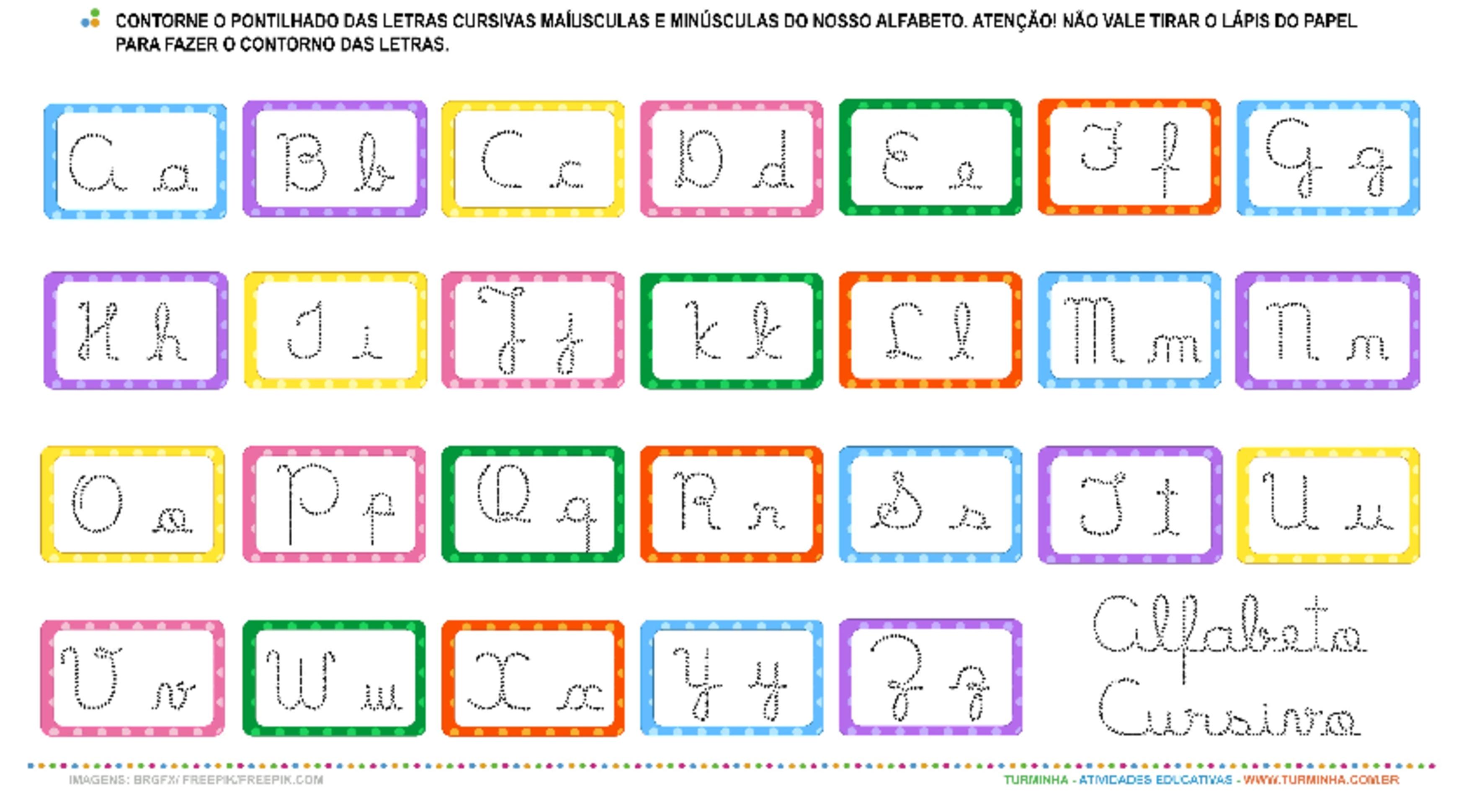 O alfabeto em Letra Cursiva – Maiúscula e Minúscula - atividade educativa para Pré-Escola (4 e 5 anos)