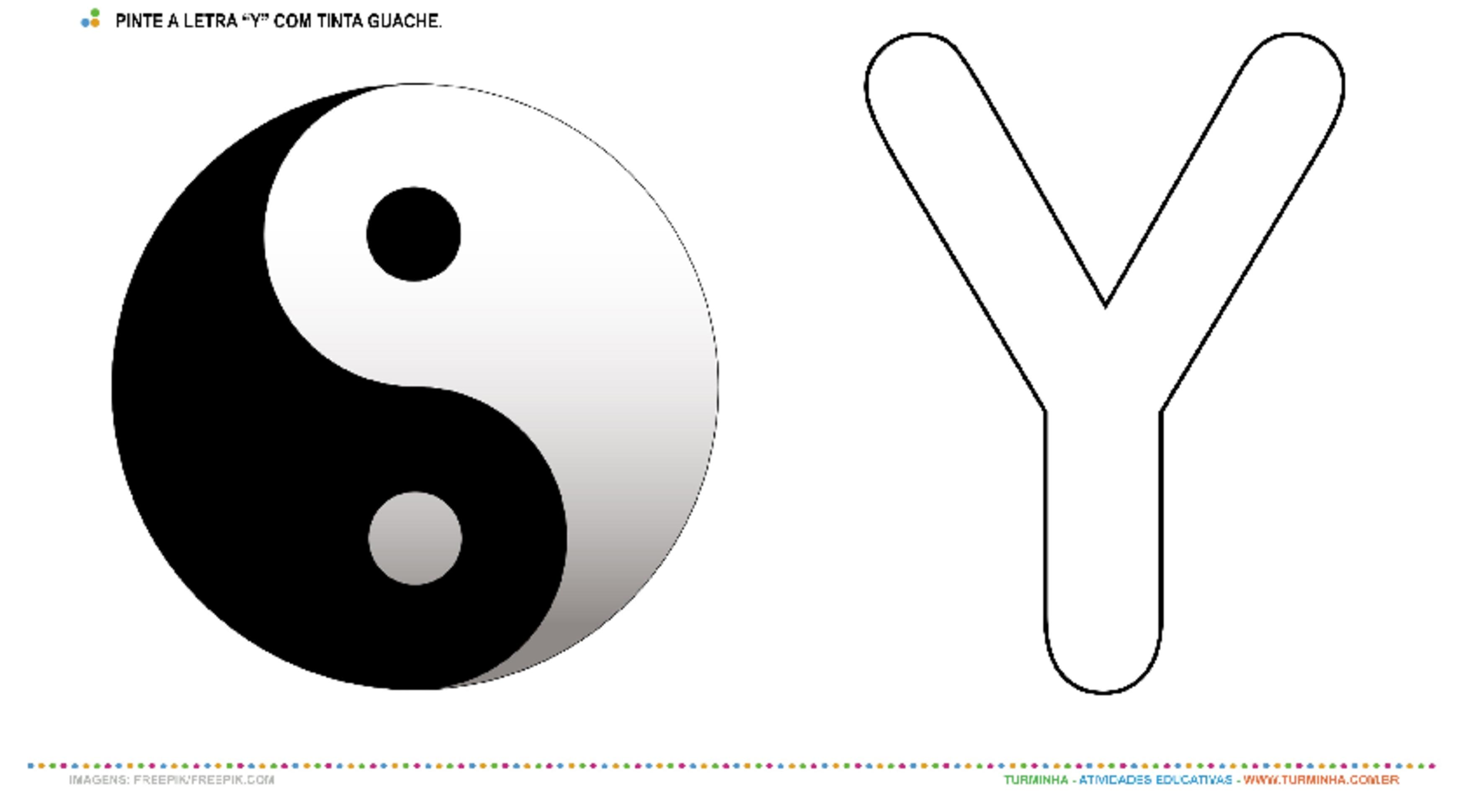 """Yin Yang e a Letra """"Y"""" – Pintura com Guache - atividade educativa para Creche (0 a 3 anos)"""