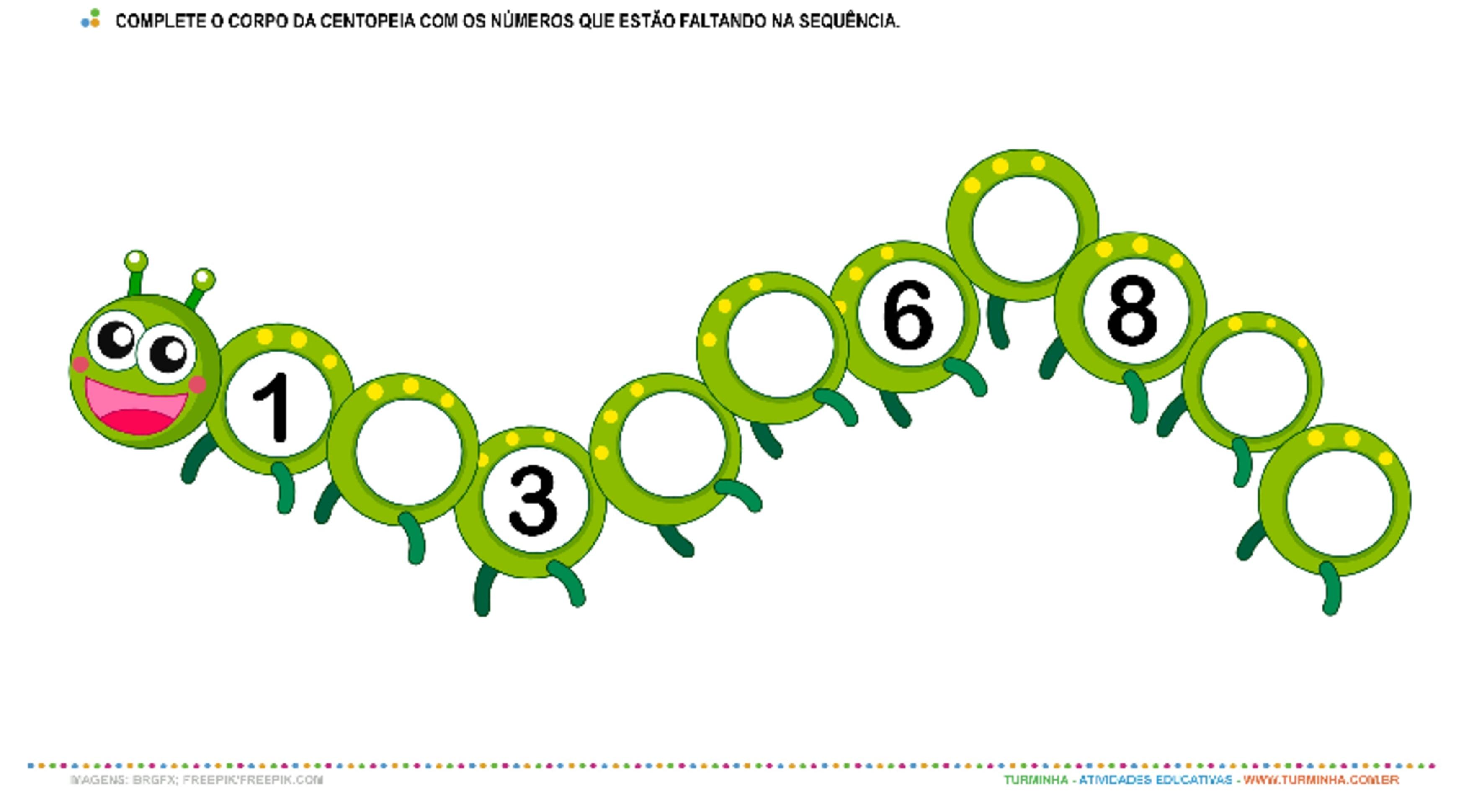 A Centopeia e os Números - atividade educativa para Pré-Escola (4 e 5 anos)
