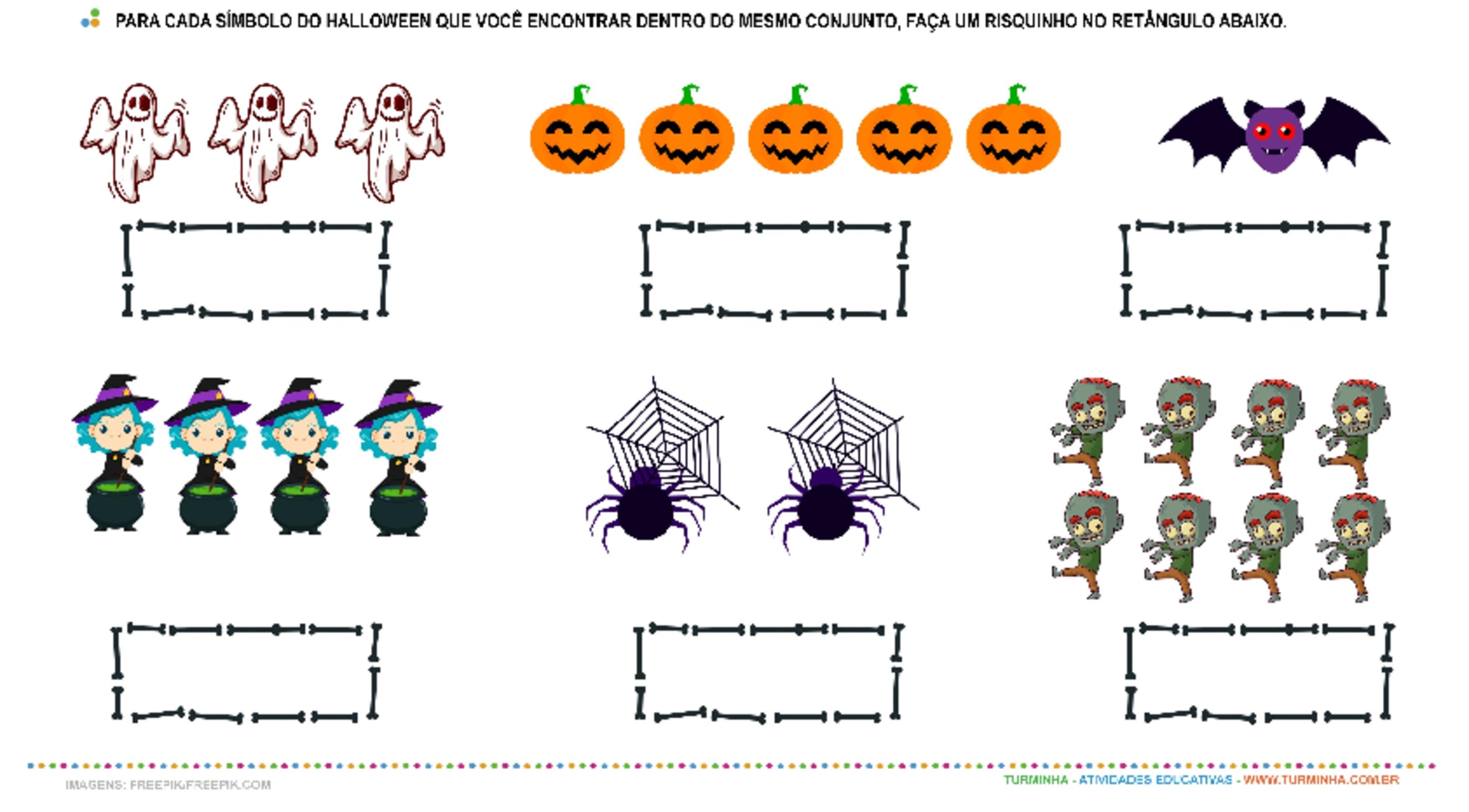 Halloween – Números e Quantidade - atividade educativa para Pré-Escola (4 e 5 anos)
