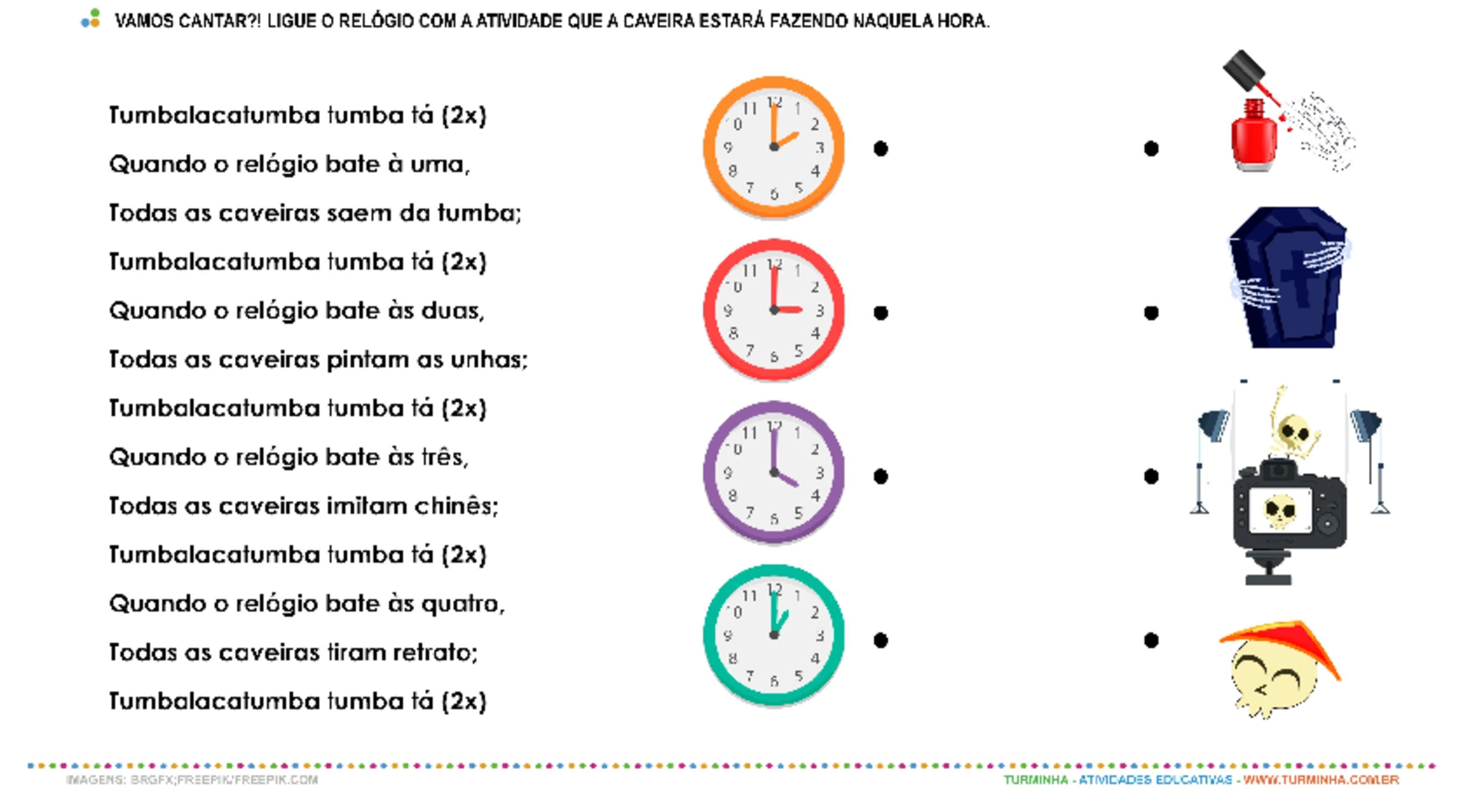 Tumbalacatumba – Trabalhando as horas - atividade educativa para Pré-Escola (4 e 5 anos)