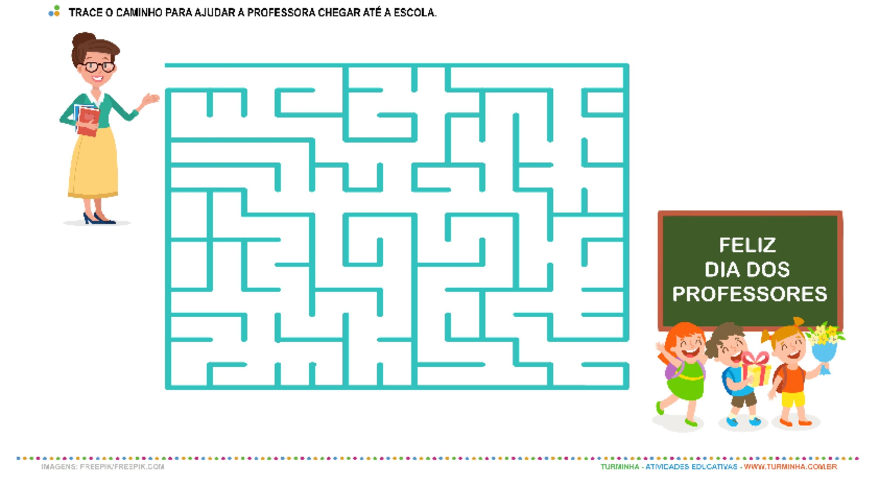 A professora no caminho da escola - atividade educativa para Pré-Escola (4 e 5 anos)