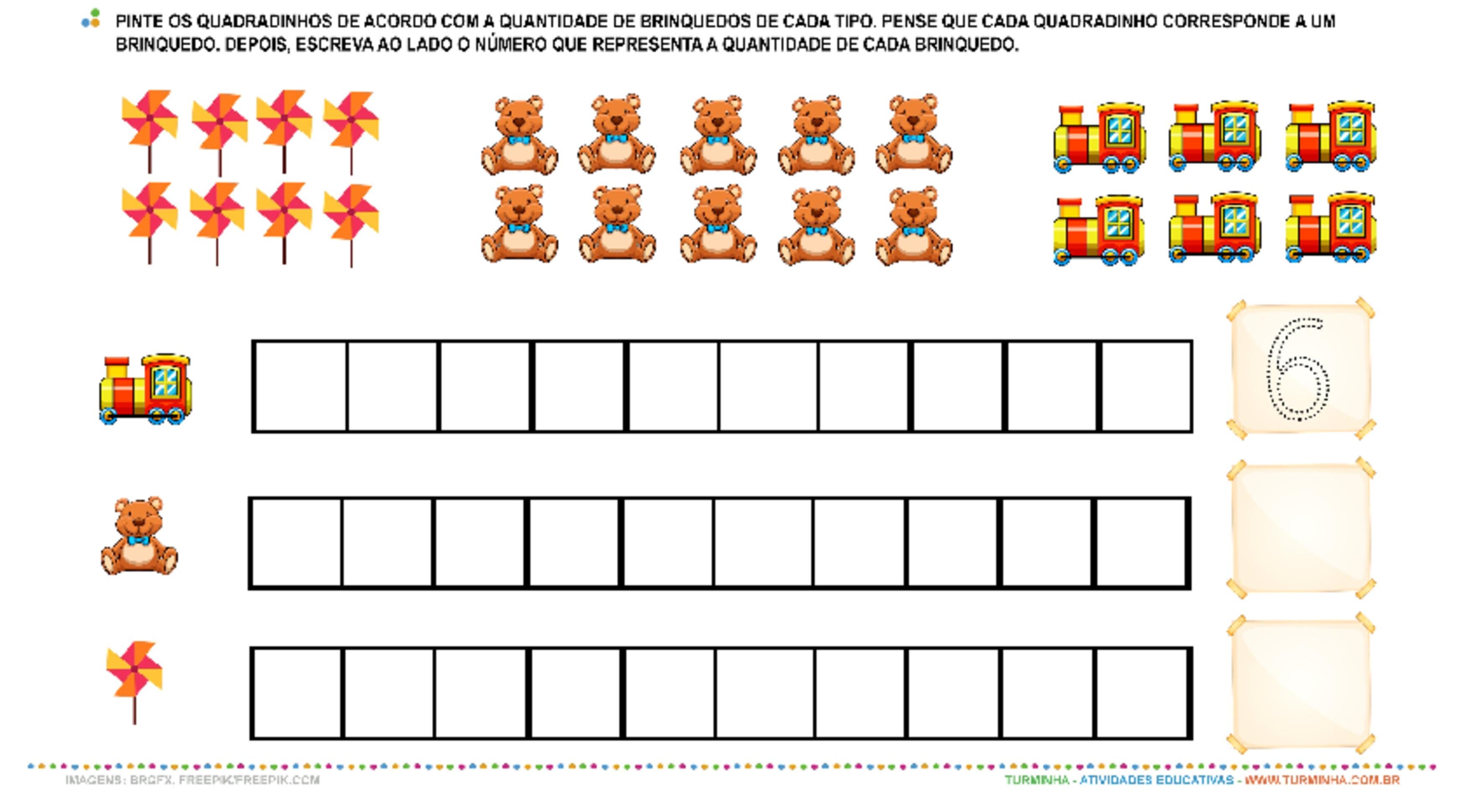 Vamos contar os brinquedos? - atividade educativa para Pré-Escola (4 e 5 anos)