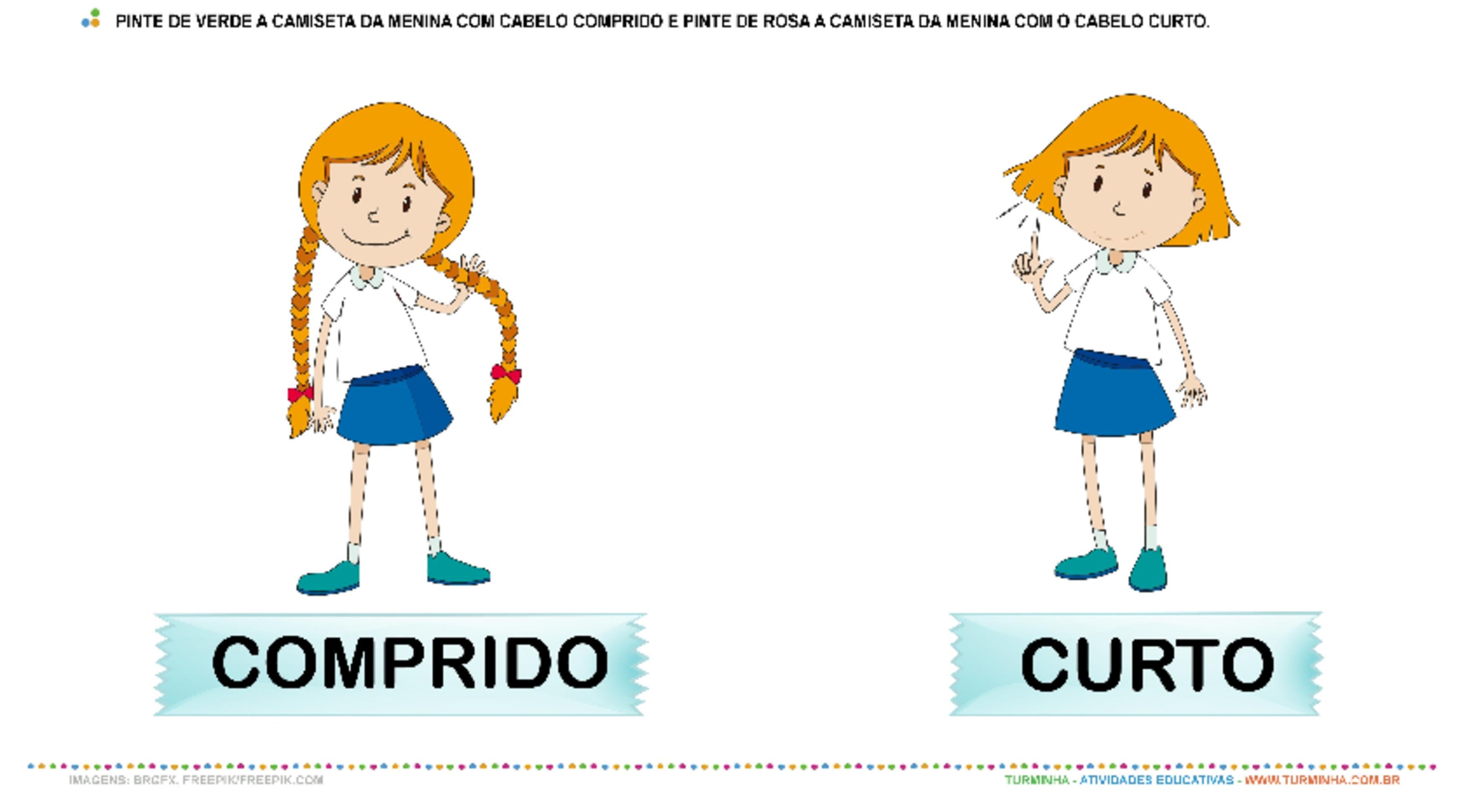 Cabelo Curto ou Cabelo Comprido - Pintura - atividade educativa para Pré-Escola (4 e 5 anos)