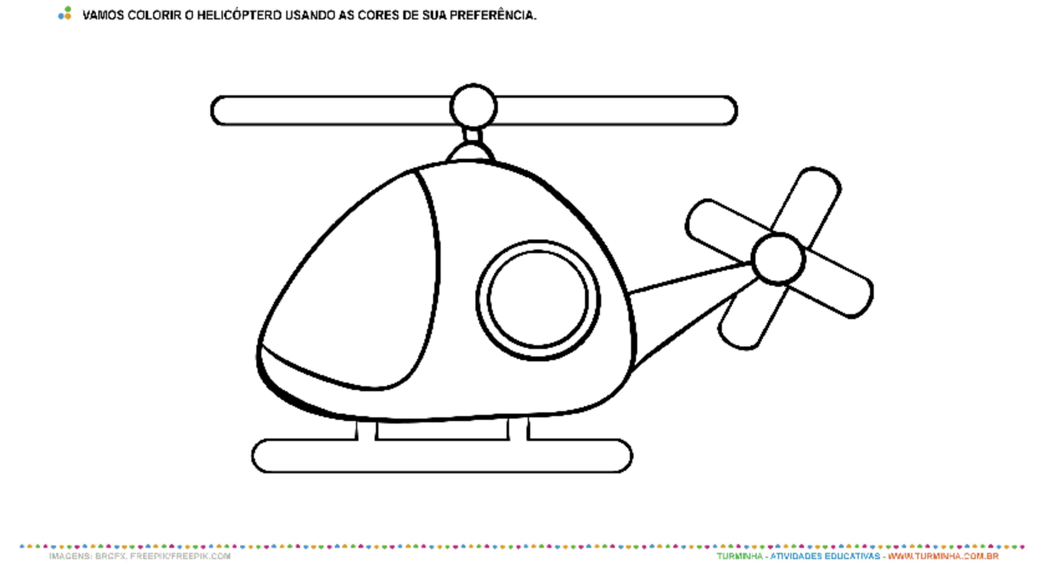 Vamos colorir o helicóptero – Pintura - atividade educativa para Creche (0 a 3 anos)