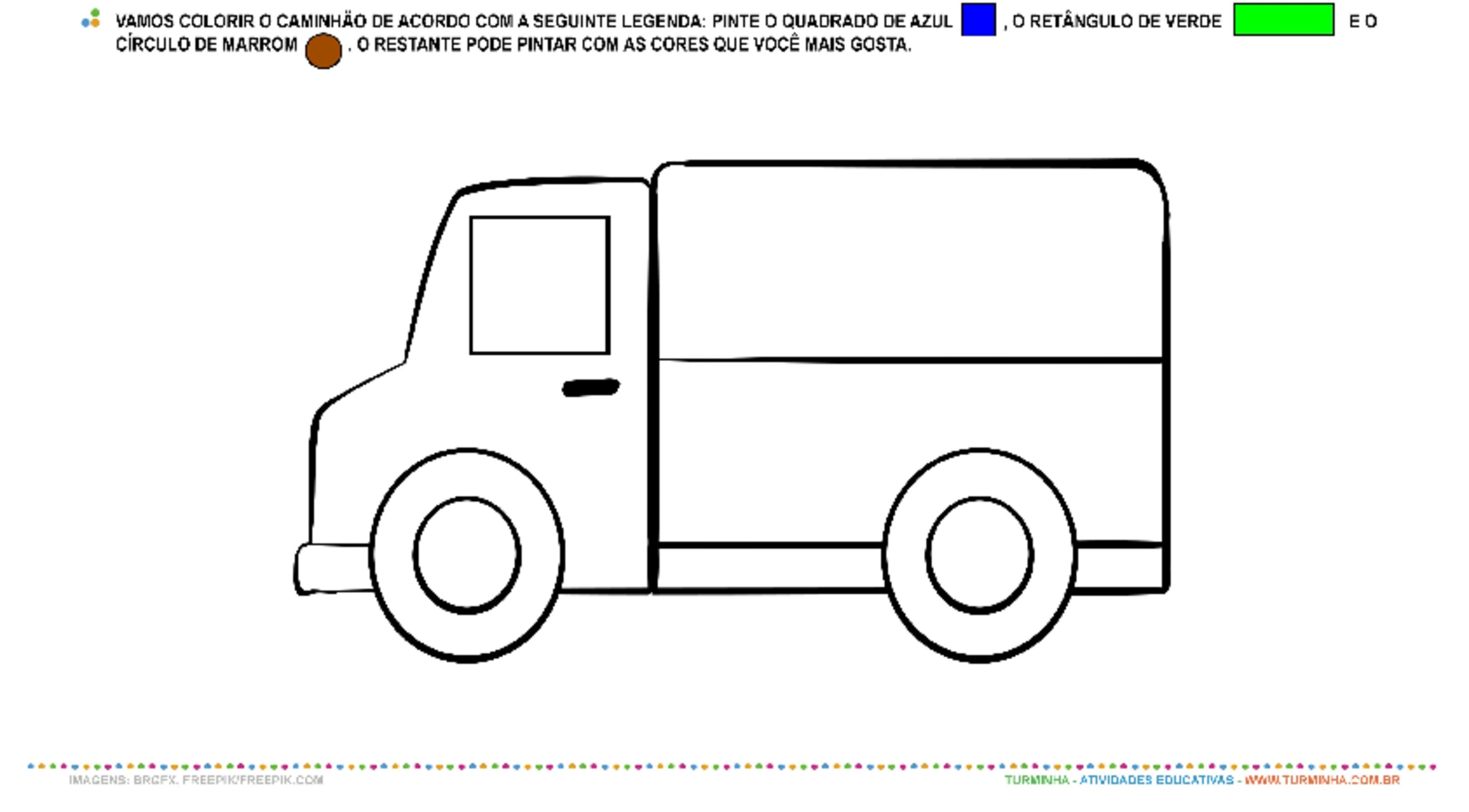 O Caminhão e as Formas Geométricas - Pintura - atividade educativa para Pré-Escola (4 e 5 anos)
