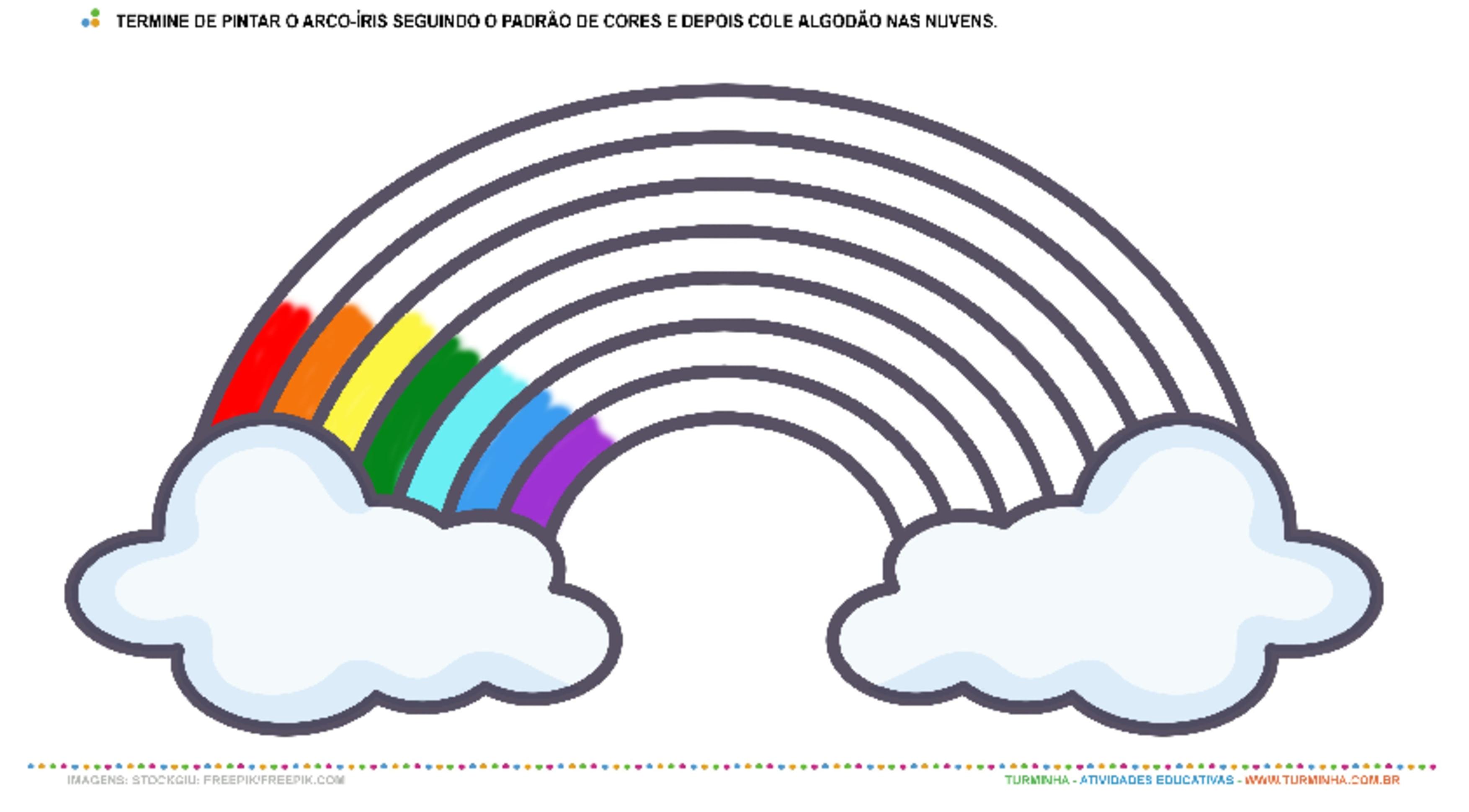 Colorindo o Arco-Íris – Pintura e Colagem - atividade educativa para Pré-Escola (4 e 5 anos)