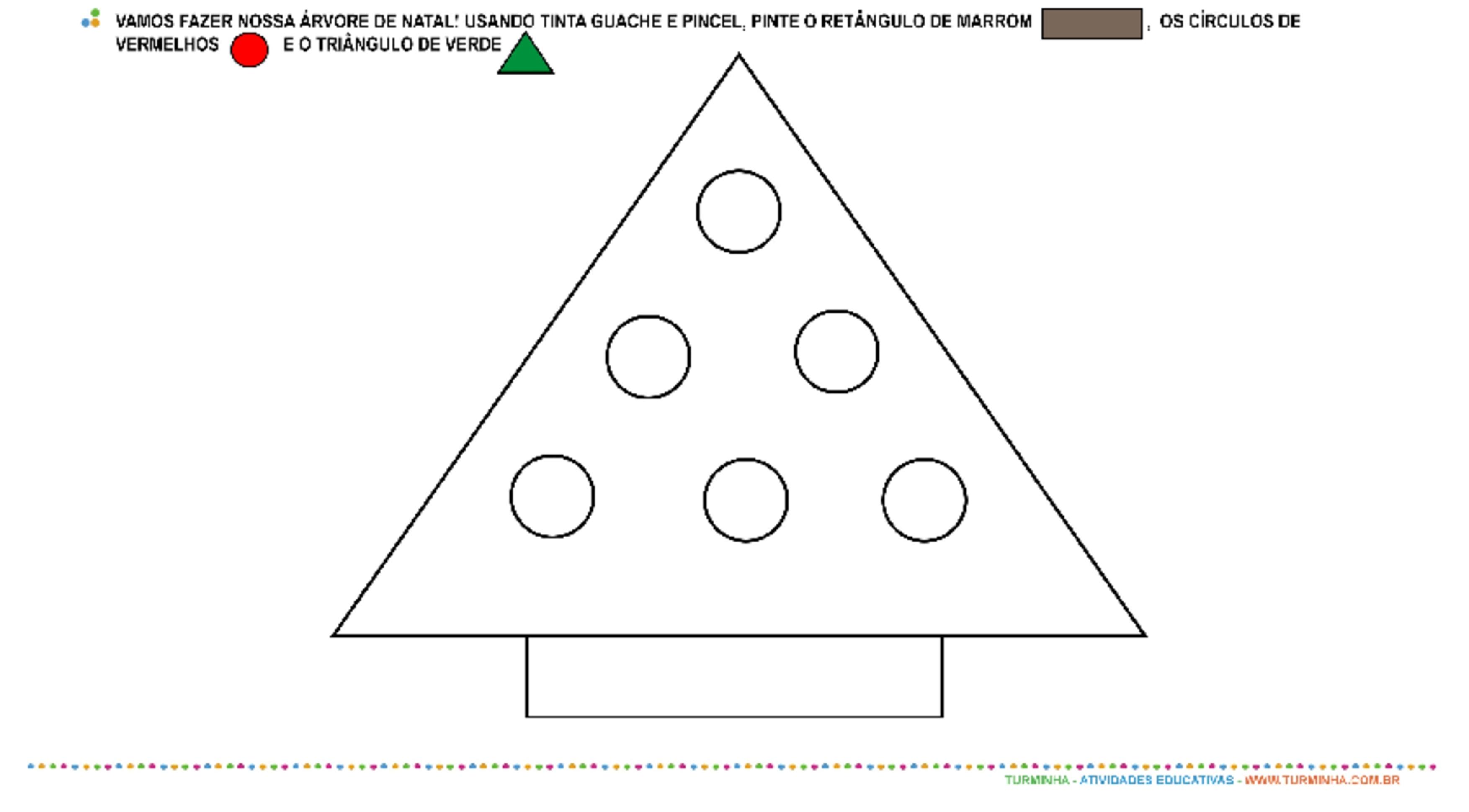 Árvore de Natal de Formas Geométricas - atividade educativa para Pré-Escola (4 e 5 anos)