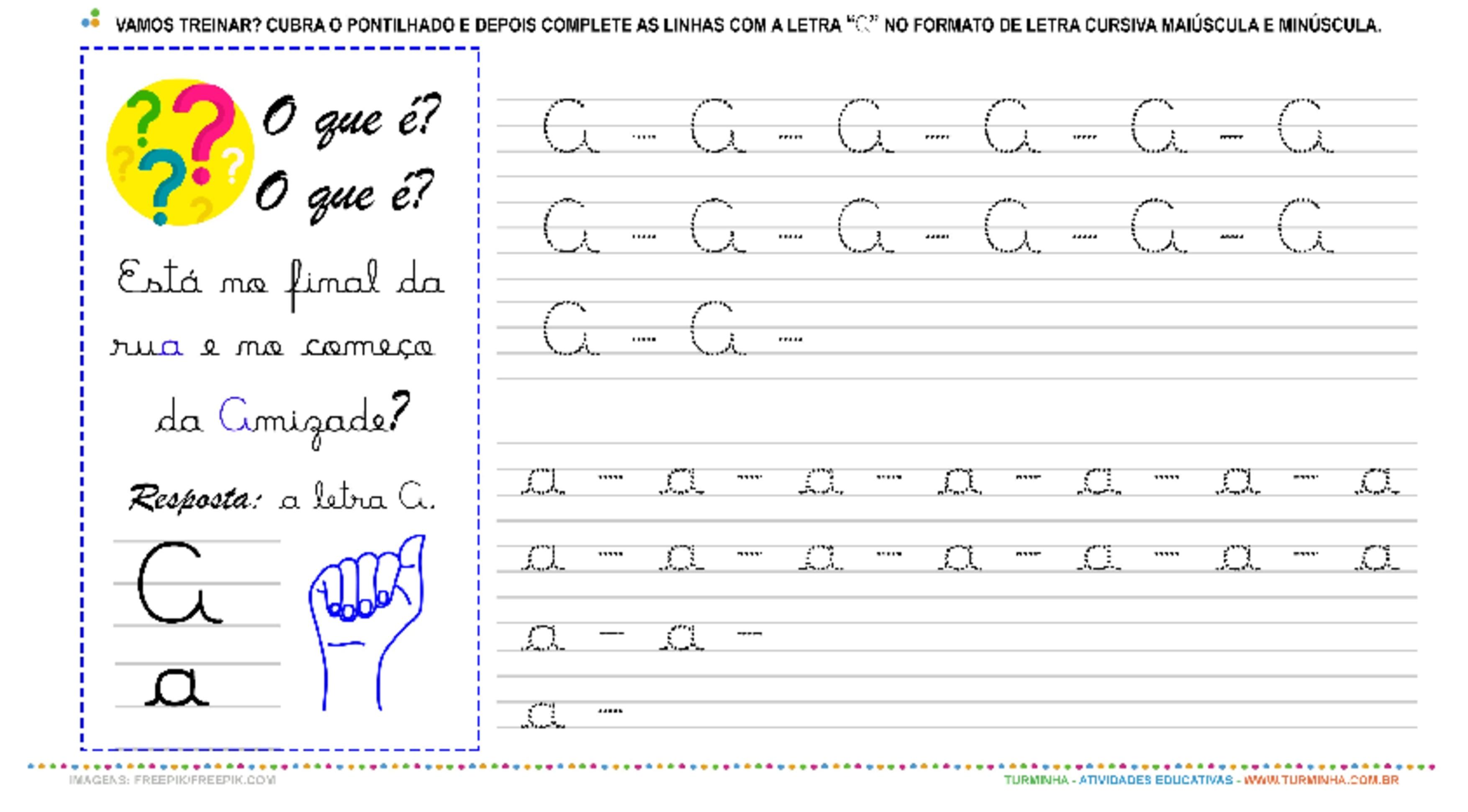 """A Letra """"A"""" Cursiva - Caligrafia - atividade educativa para Pré-Escola (4 e 5 anos)"""