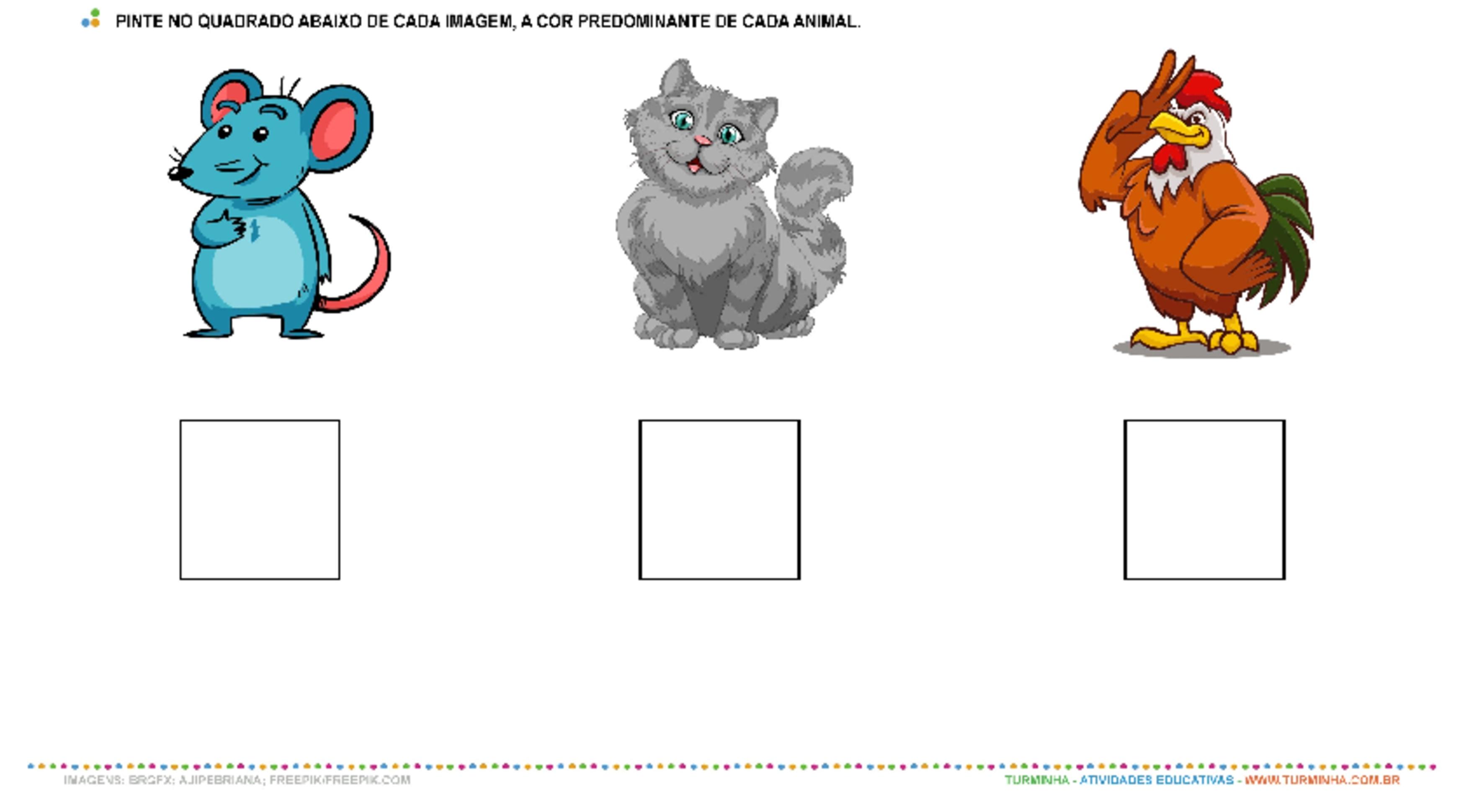 Animais e Cores - Pintura - atividade educativa para Creche (0 a 3 anos)