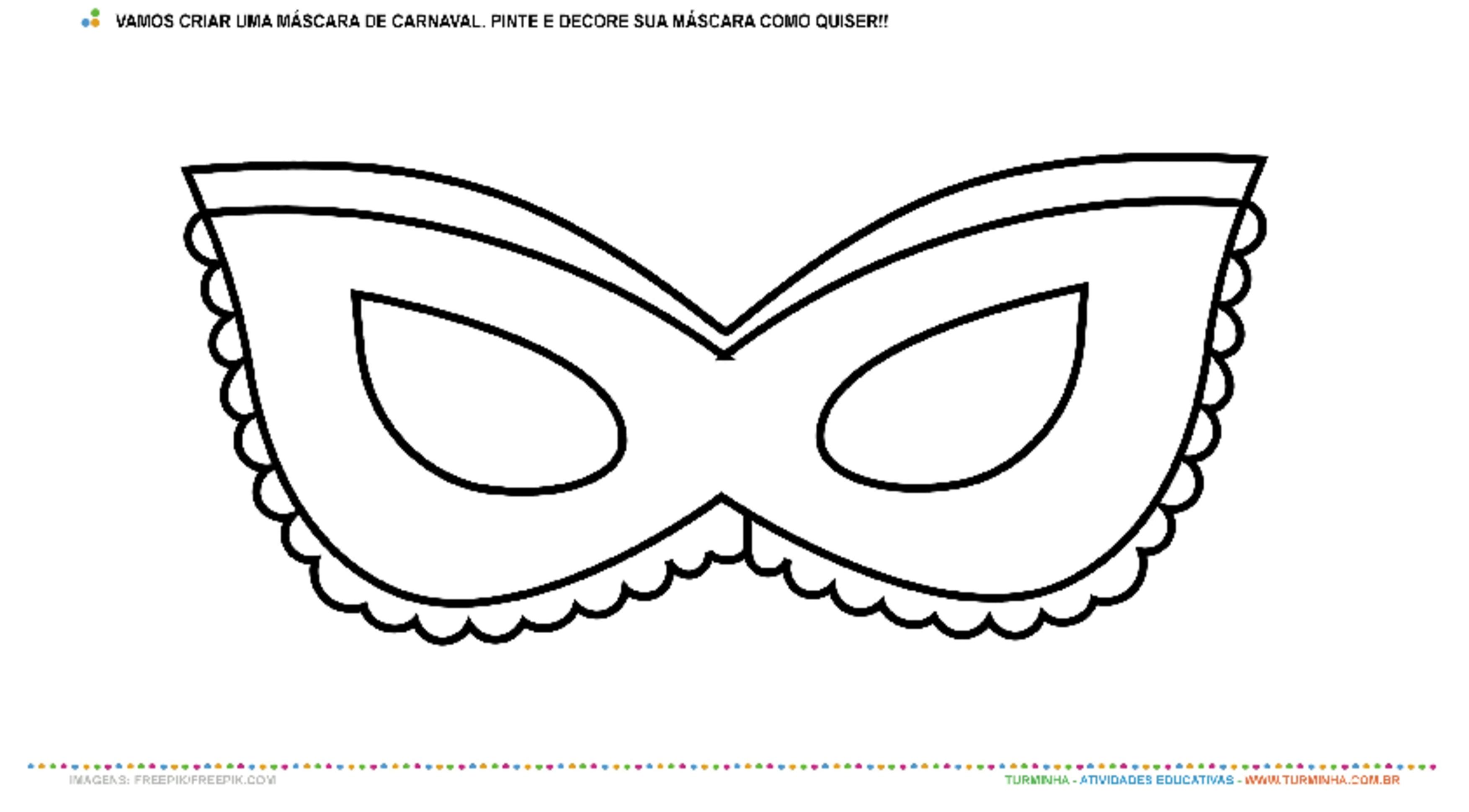 Máscara de Carnaval - Pintura e Colagem - atividade educativa para Creche (0 a 3 anos)