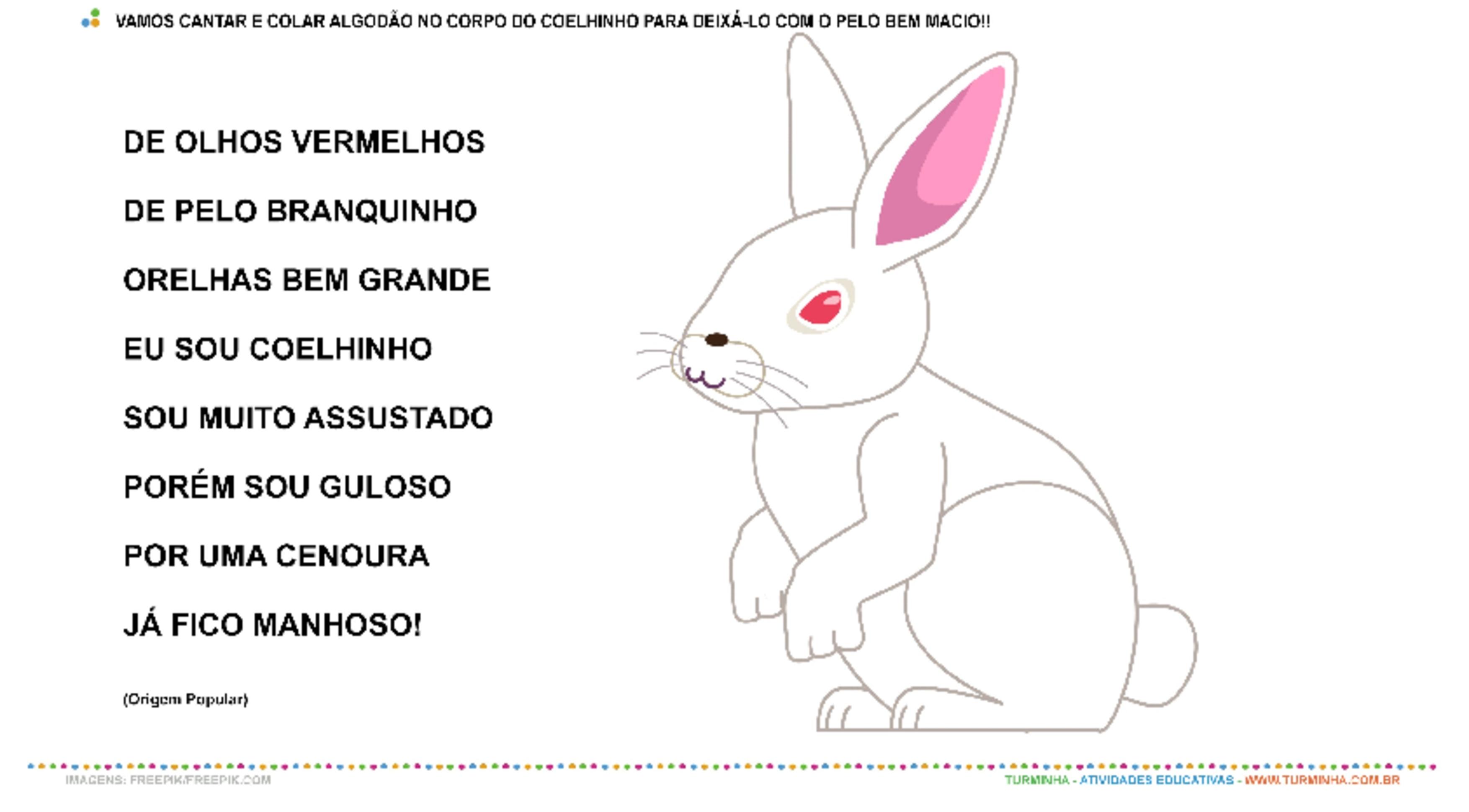 Coelhinho da Páscoa - Música e Colagem - atividade educativa para Creche (0 a 3 anos)