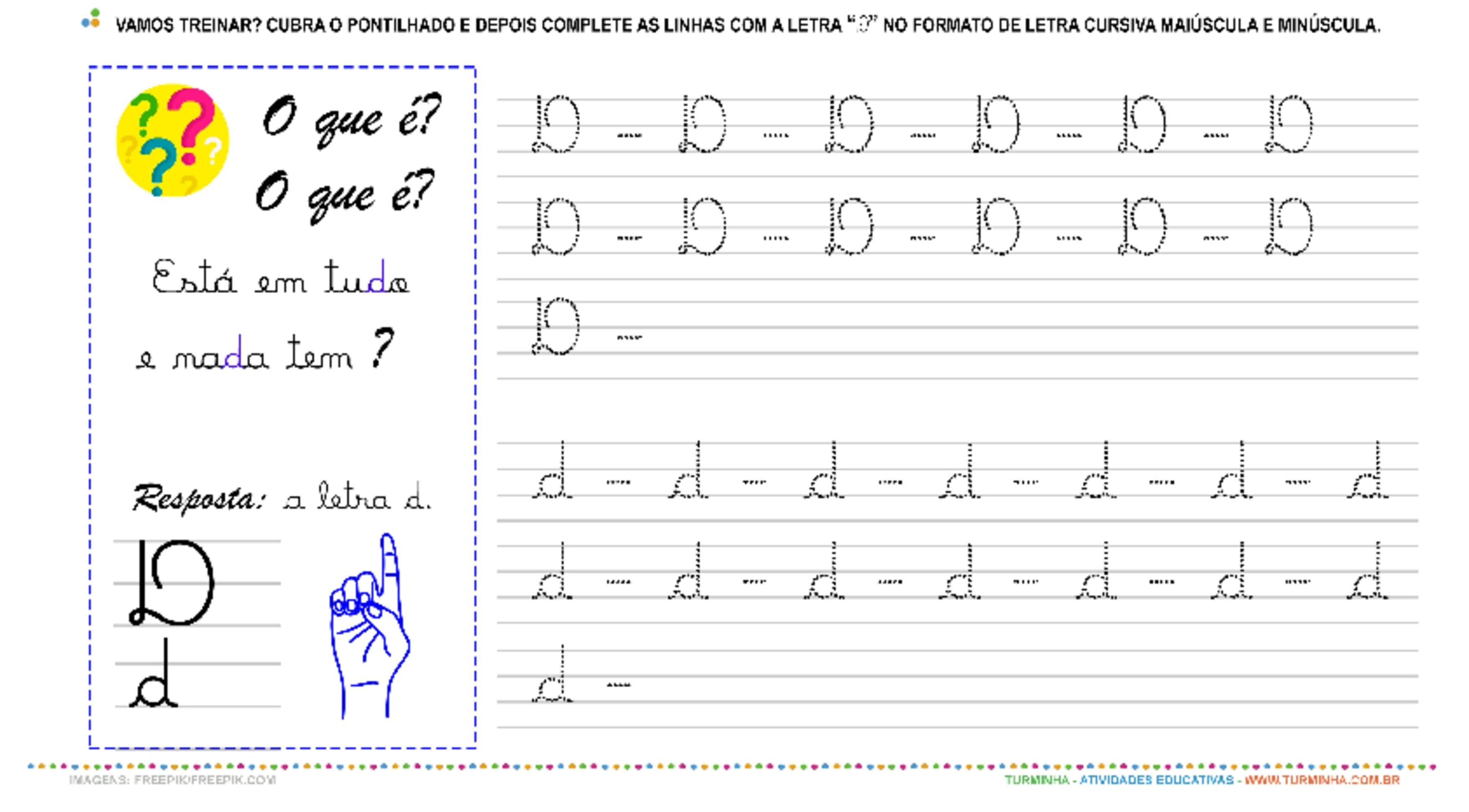 """A Letra """"D"""" Cursiva - Caligrafia - atividade educativa para Pré-Escola (4 e 5 anos)"""