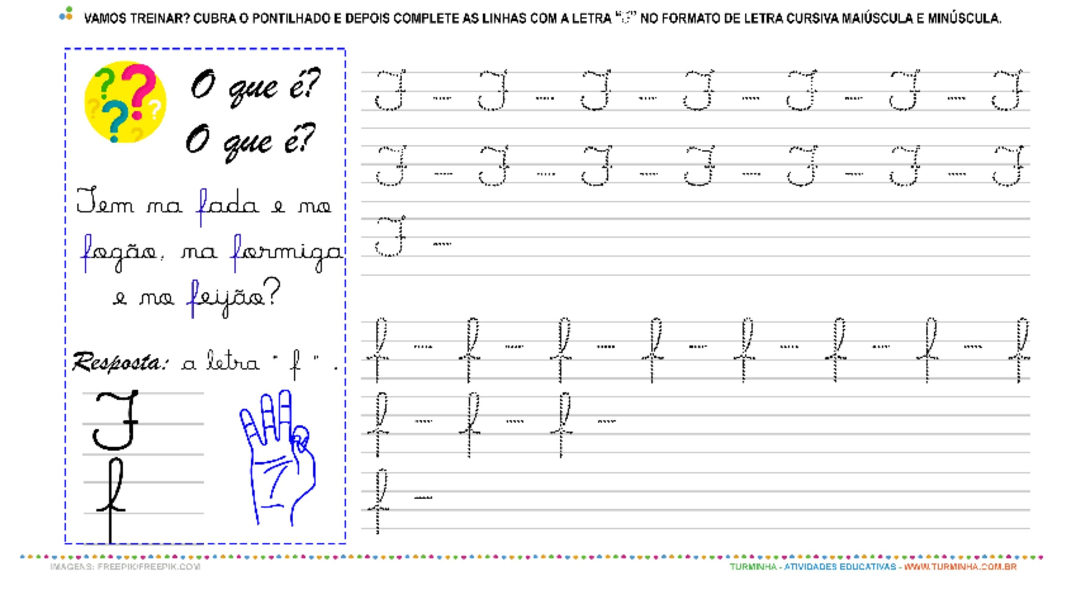 """A Letra """"F"""" Cursiva - Caligrafia - atividade educativa para Pré-Escola (4 e 5 anos)"""