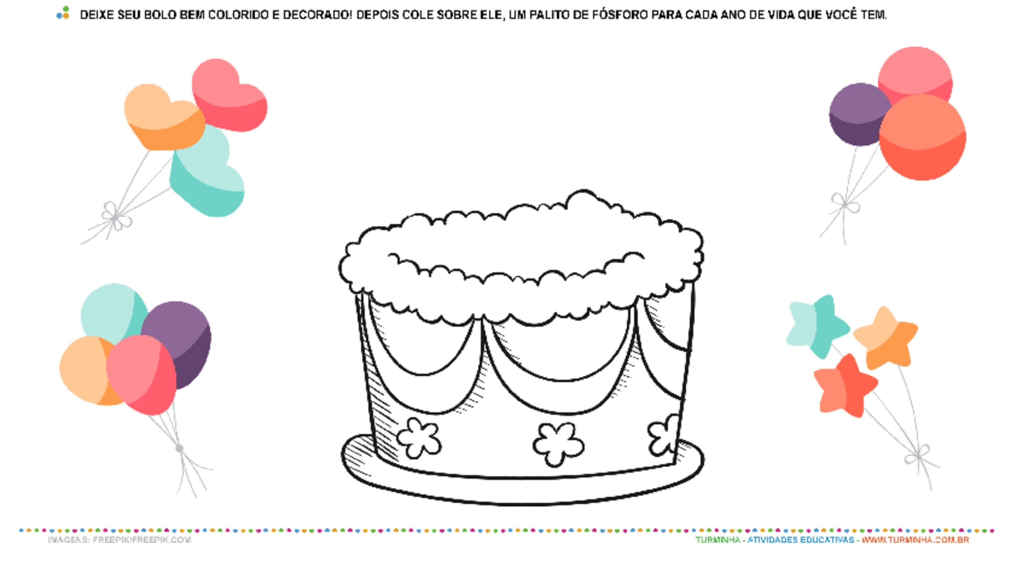 Bolo de Aniversário – Pintura e Colagem - atividade educativa para Creche (0 a 3 anos)