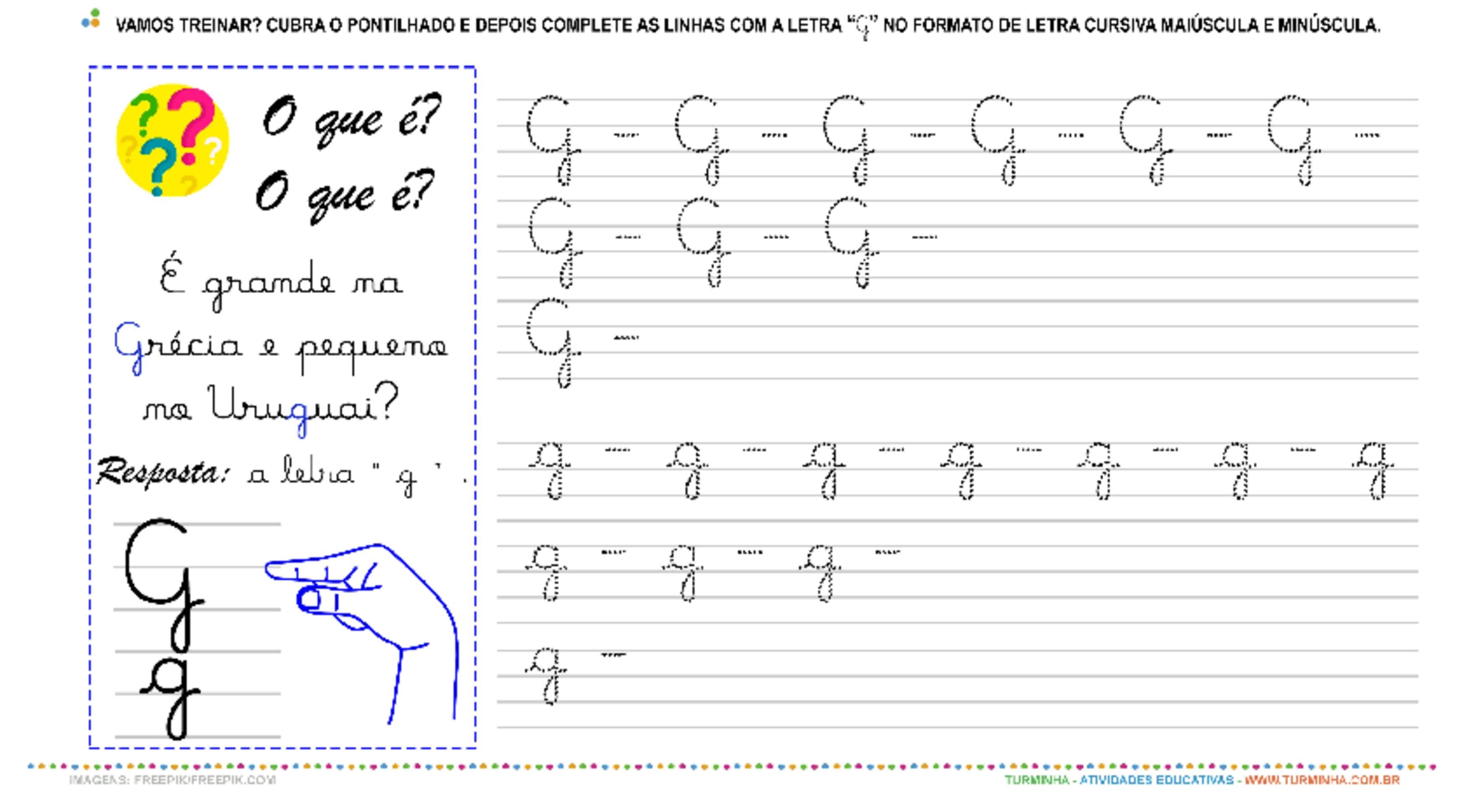 """A Letra """"G"""" Cursiva - Caligrafia - atividade educativa para Pré-Escola (4 e 5 anos)"""