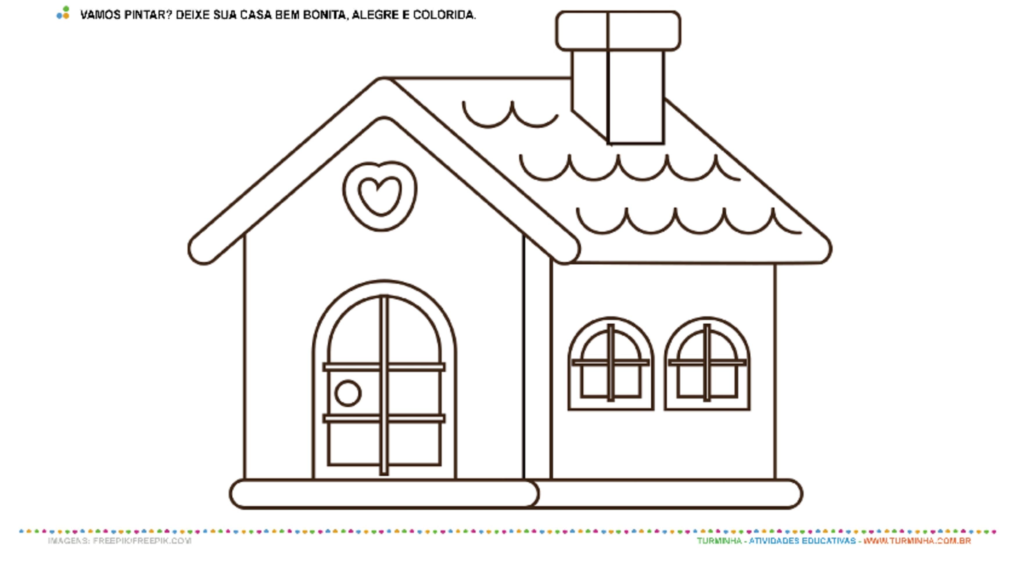 Minha Casa - Pintura - atividade educativa para Creche (0 a 3 anos)