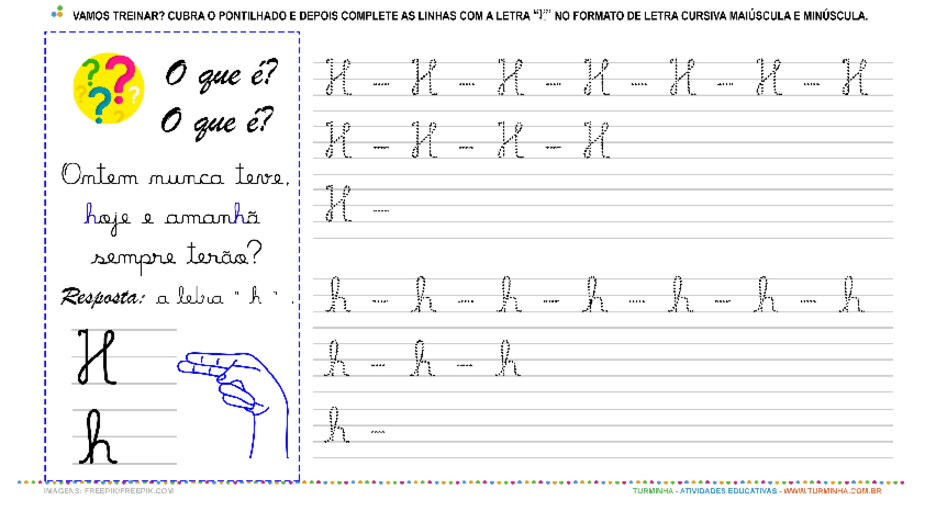"""A Letra """"H"""" Cursiva - Caligrafia - atividade educativa para Pré-Escola (4 e 5 anos)"""