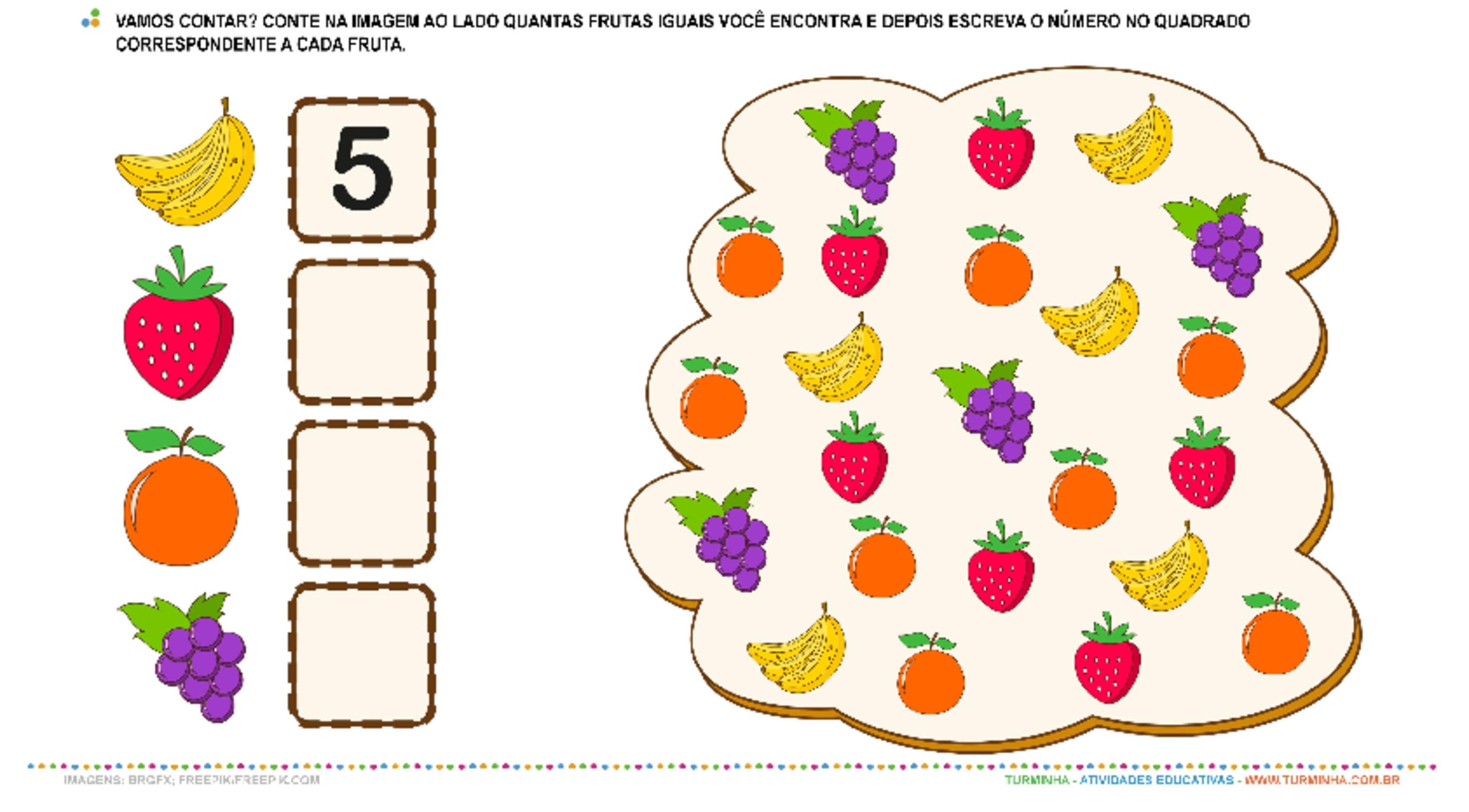 As Frutas e os Números - Contagem - atividade educativa para Pré-Escola (4 e 5 anos)