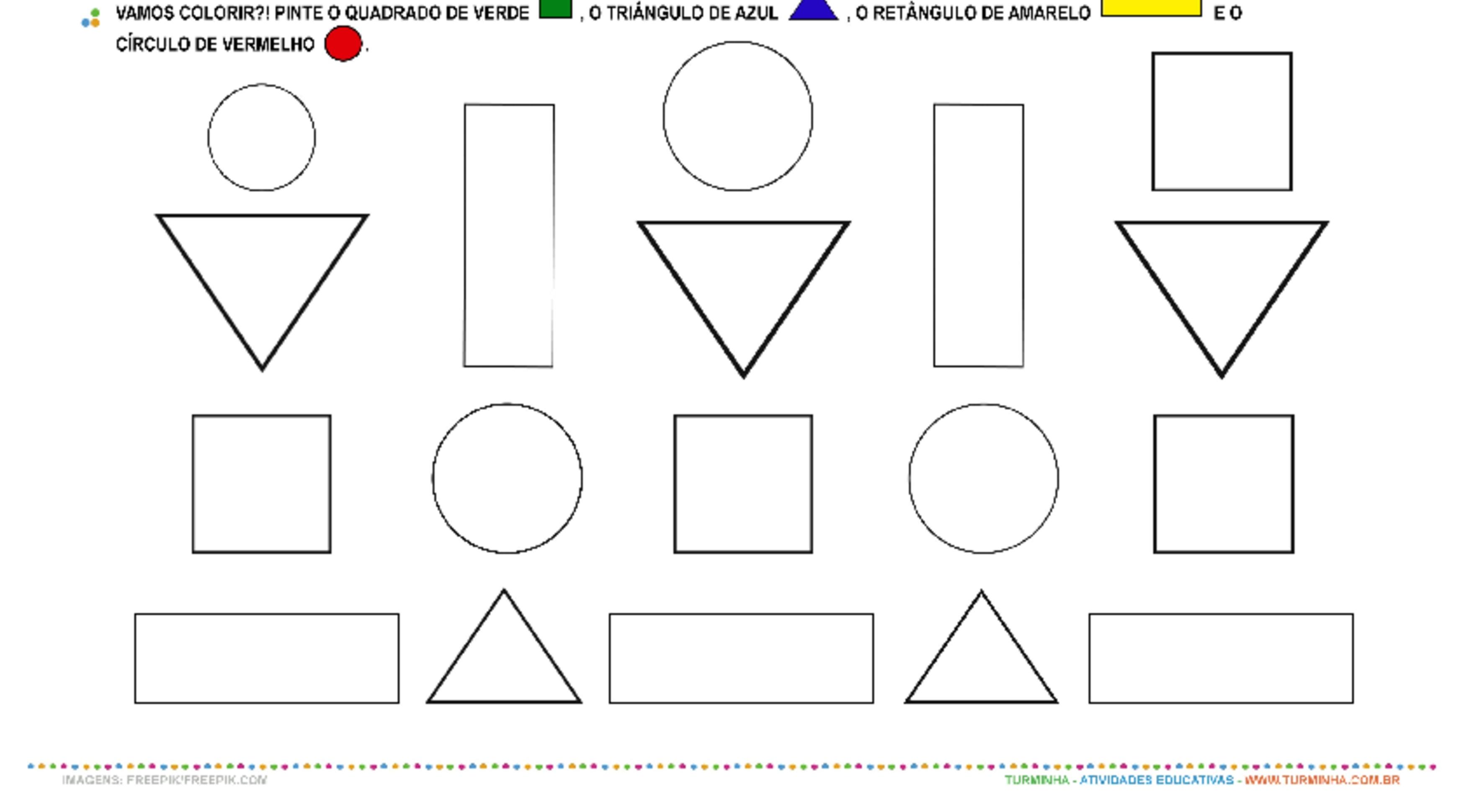 Formas Geométricas - Observação e Pintura - atividade educativa para Creche (0 a 3 anos)